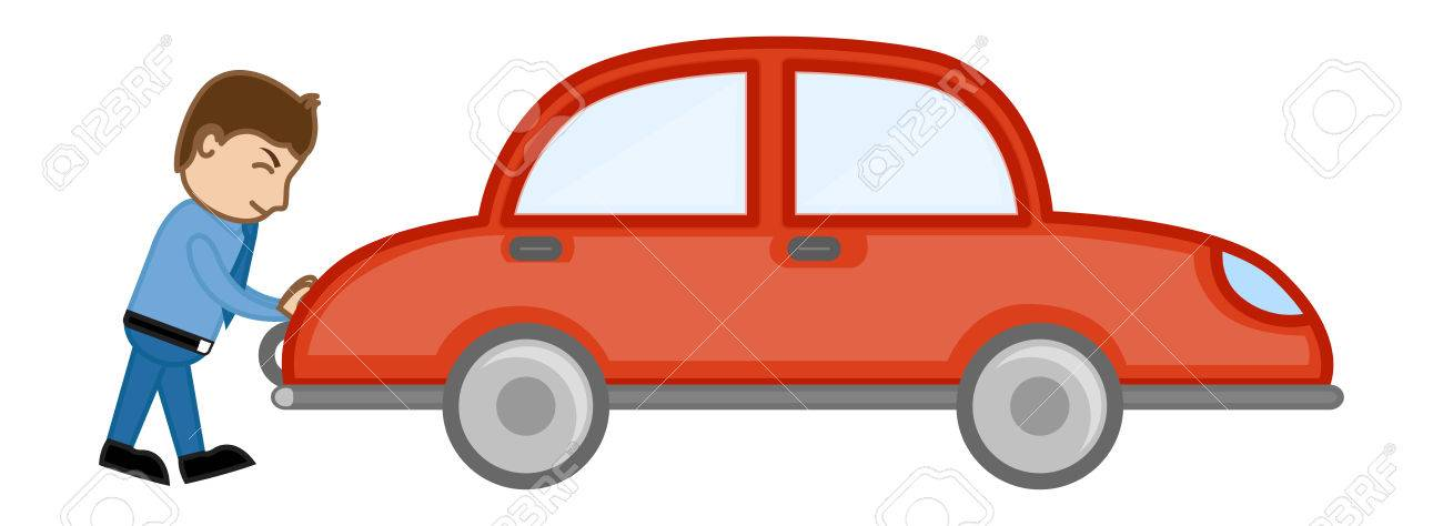 pushing car cartoon vector royalty free cliparts vectors and stock