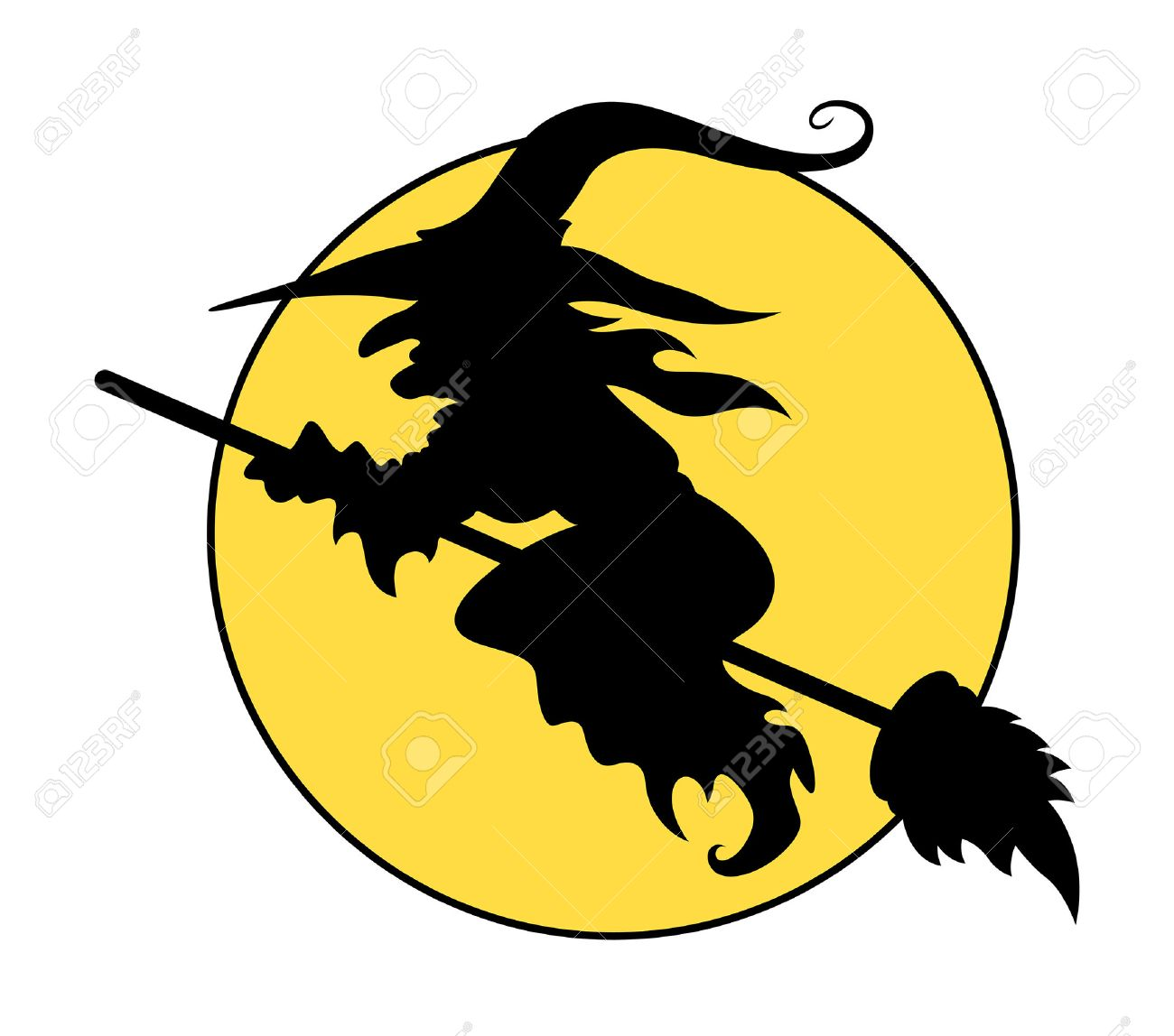silhouettes of flying witch on broom halloween vector illustration stock vector 34835313