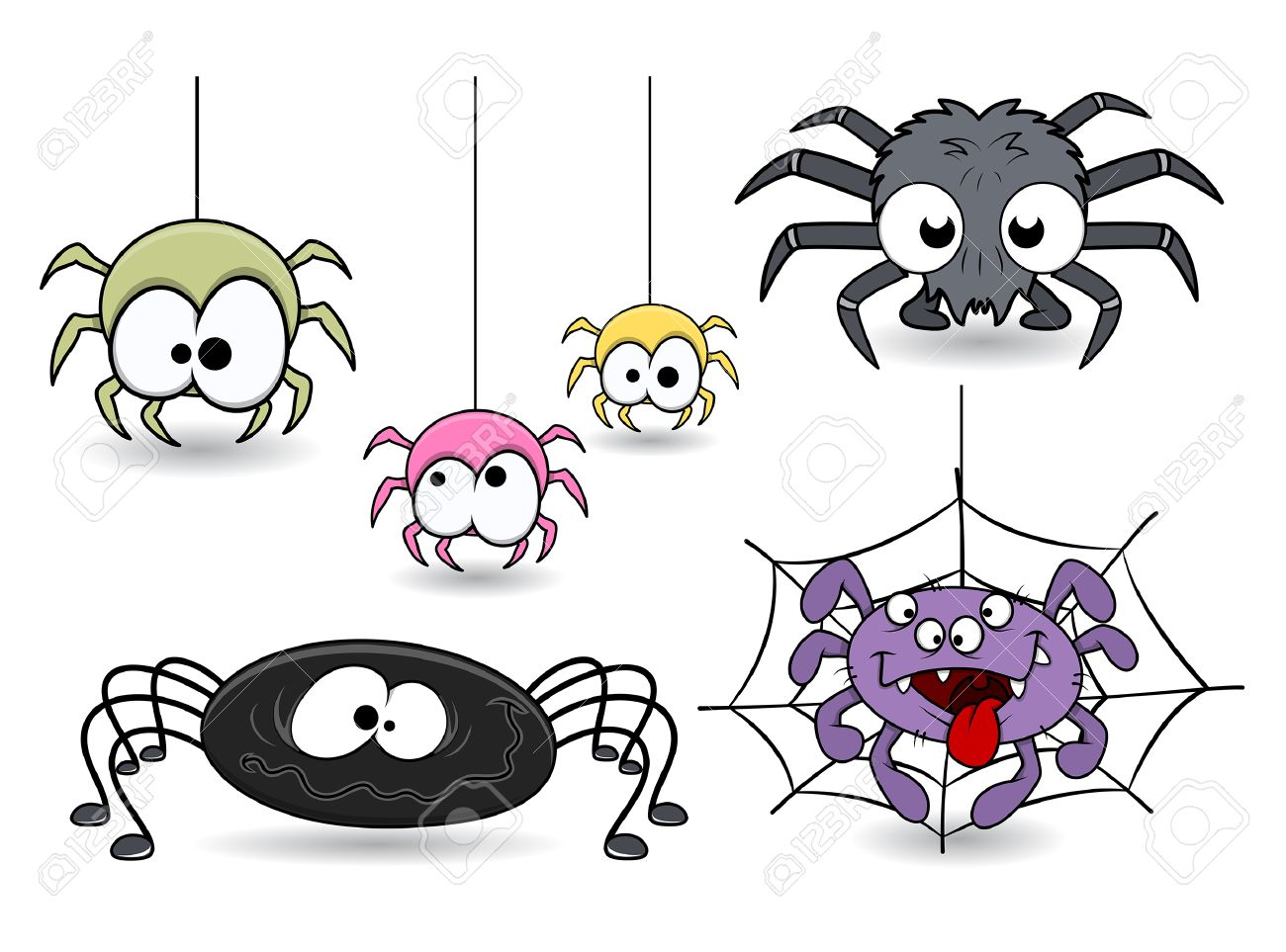 set of cute funny cartoon spiders vectors royalty free cliparts
