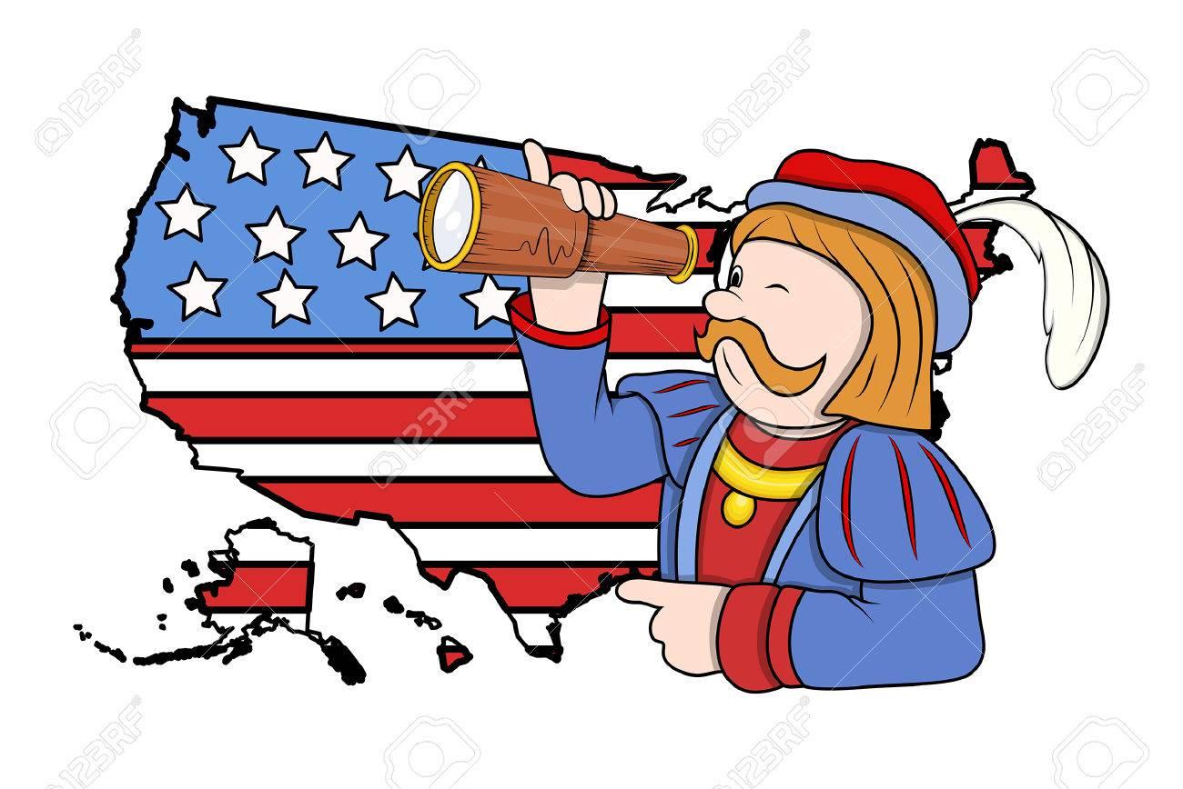 Cartoon Man With Binocular USA Map Background Royalty Free - Usa map cartoon