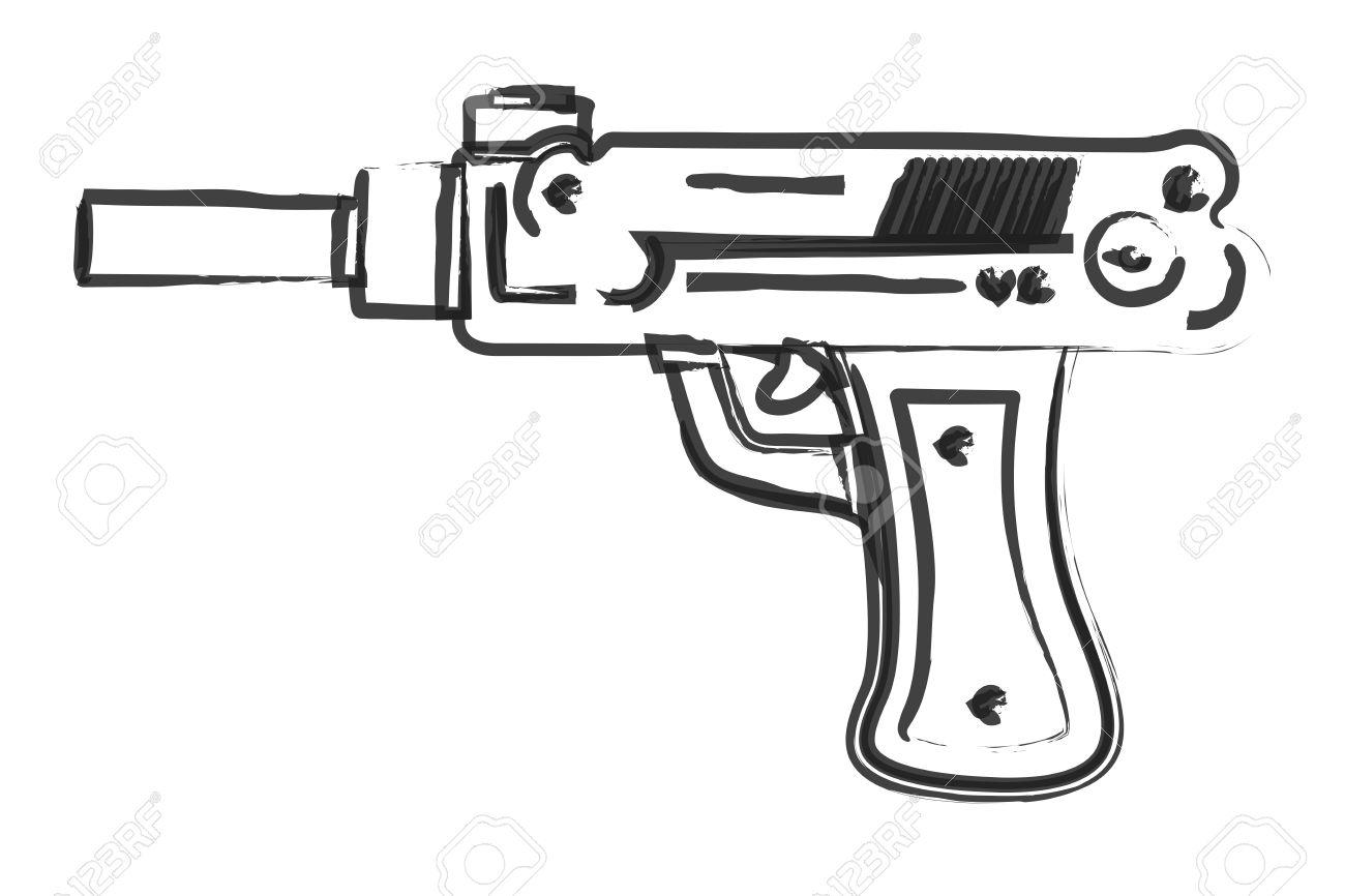 dibujo artístico pistola ilustraciones vectoriales clip art