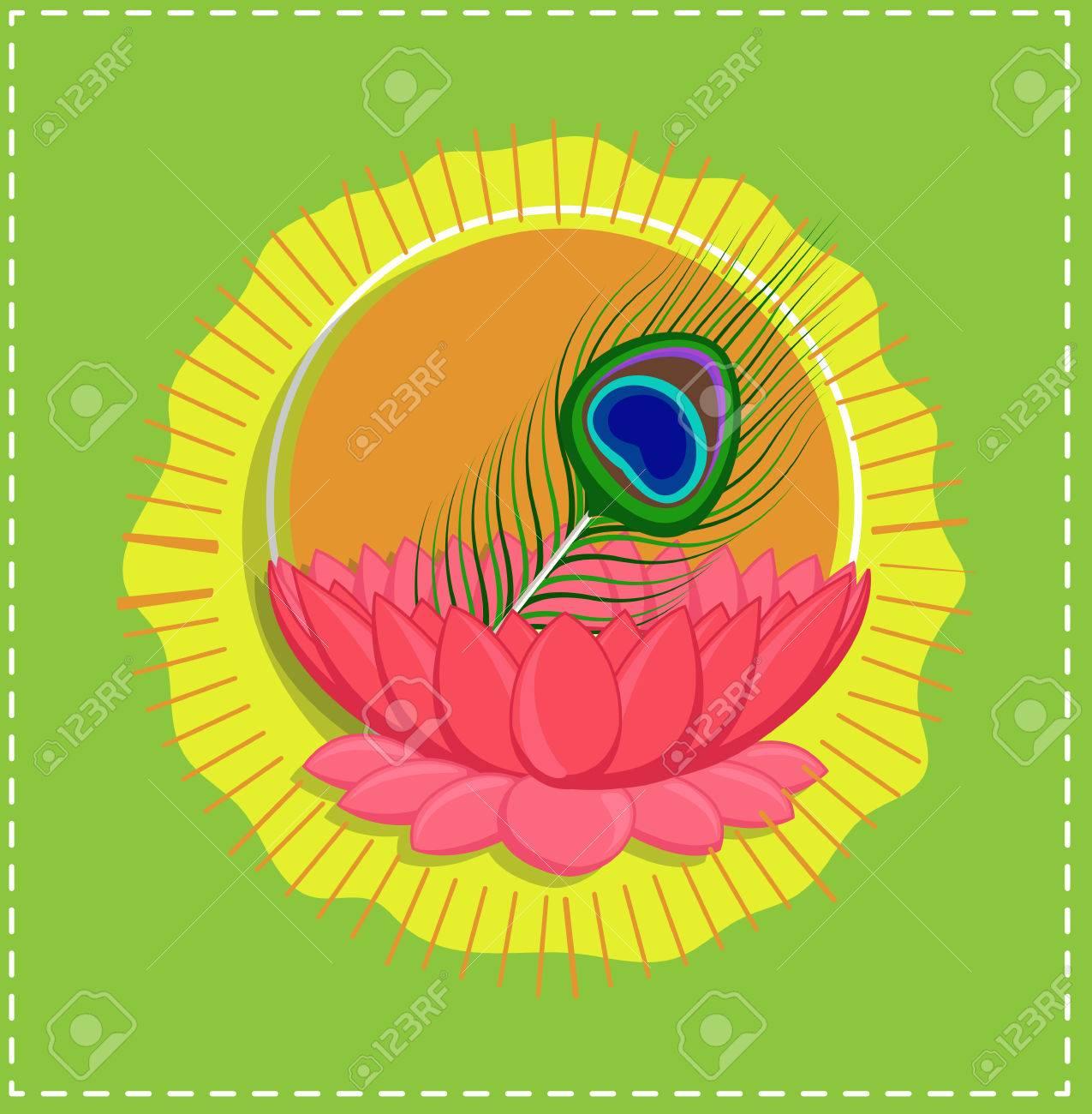 Peacock Feather In Lotus Flower - Spiritual Indian