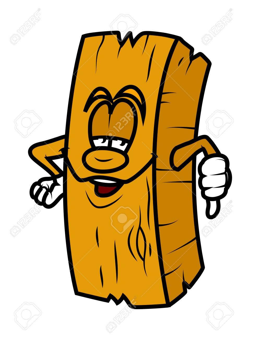 Cartoon Wood Plank Showing Thumb Down Stock Vector   41991883