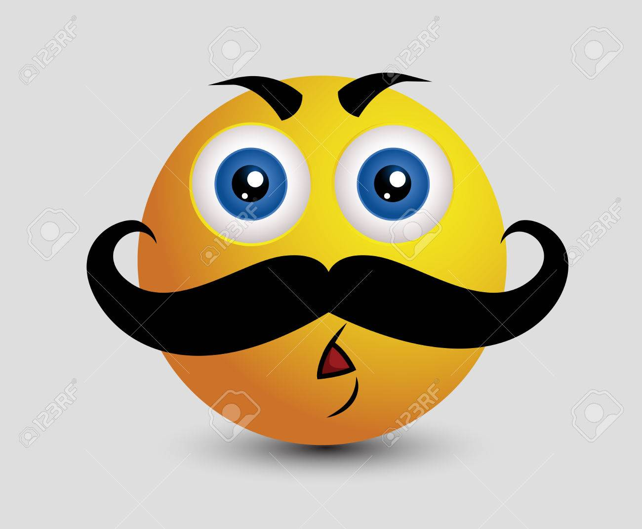 large mustache mature man emoji smiley emoticon stock vector 52150734