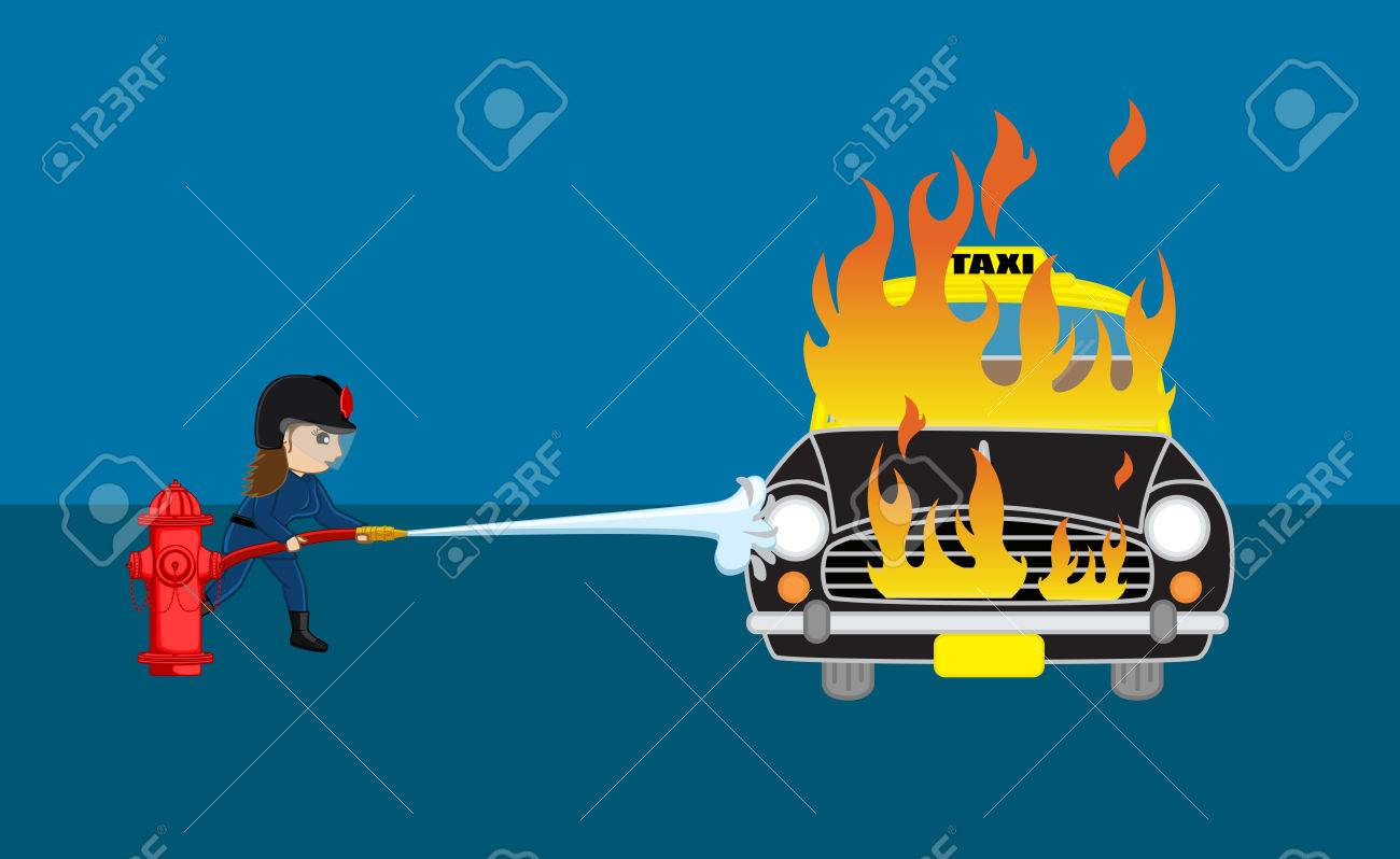 Firefighter Trying to Extinguish the Burning Car with Fire Hose - 55068143