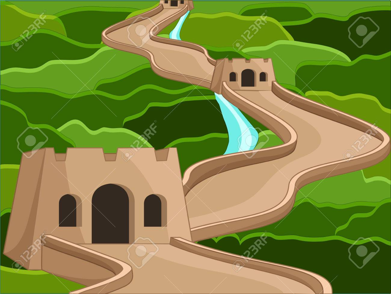 ancient great wall of china structure illustration royalty free rh 123rf com Mexican Wall great wall of china clipart free