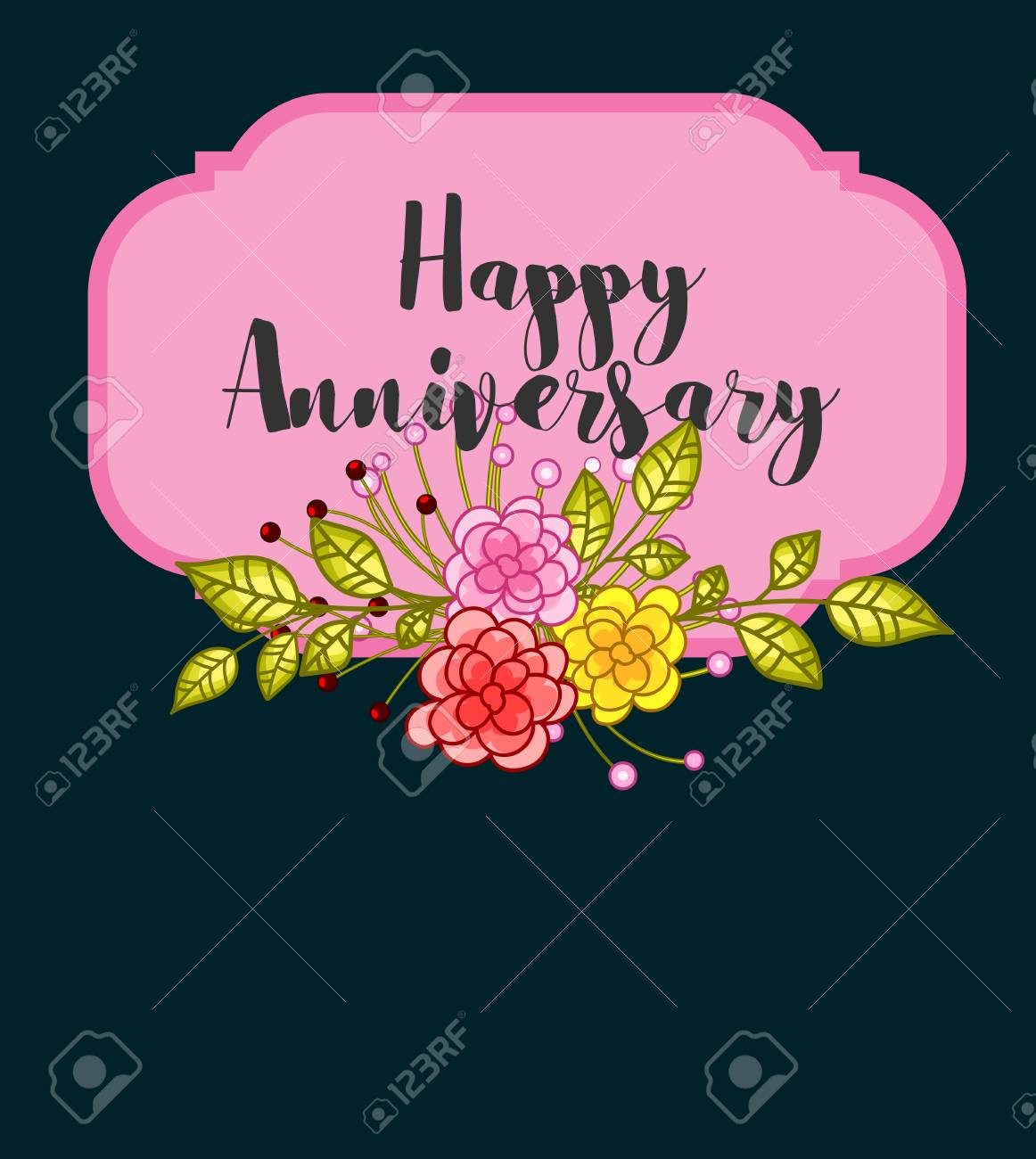 Happy Anniversary Flowers Banner Royalty Free Cliparts Vectors And