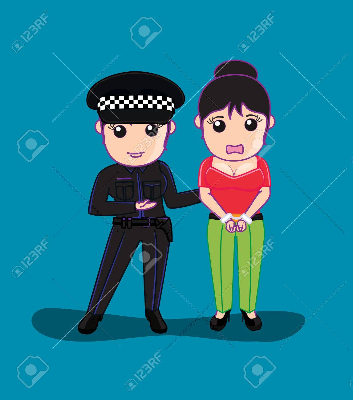Lady Police Arrested A Woman Royalty Free Cliparts, Vectors, And ...