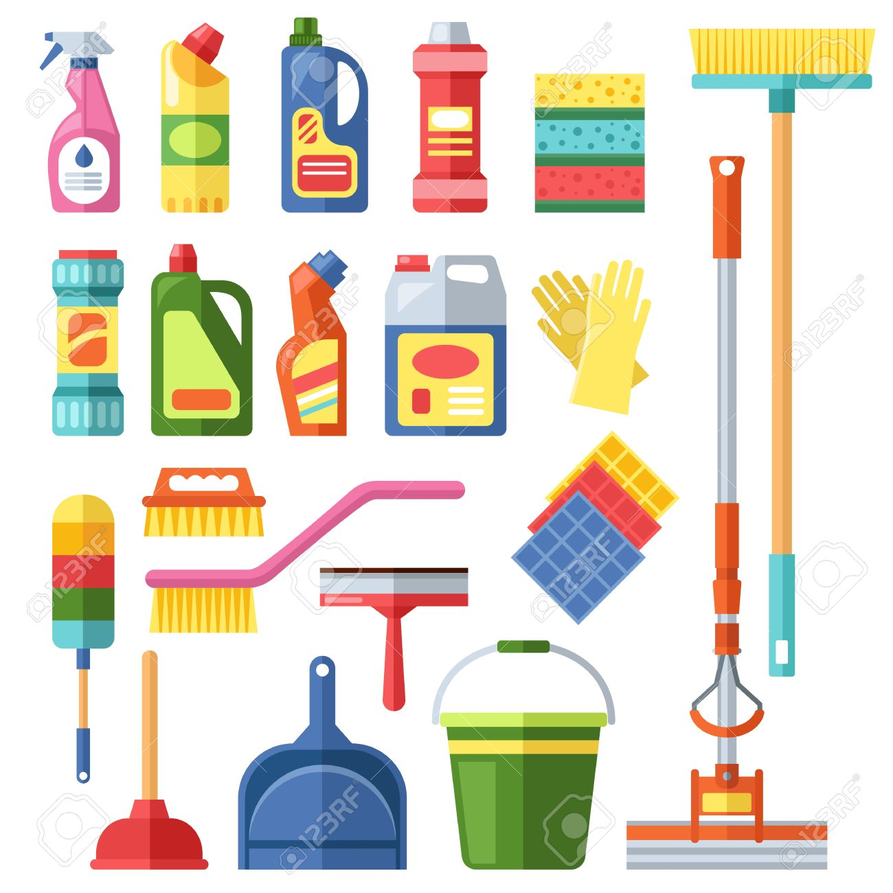 House Cleaning Tools And Cleaning Products Flat Vector Icons Set