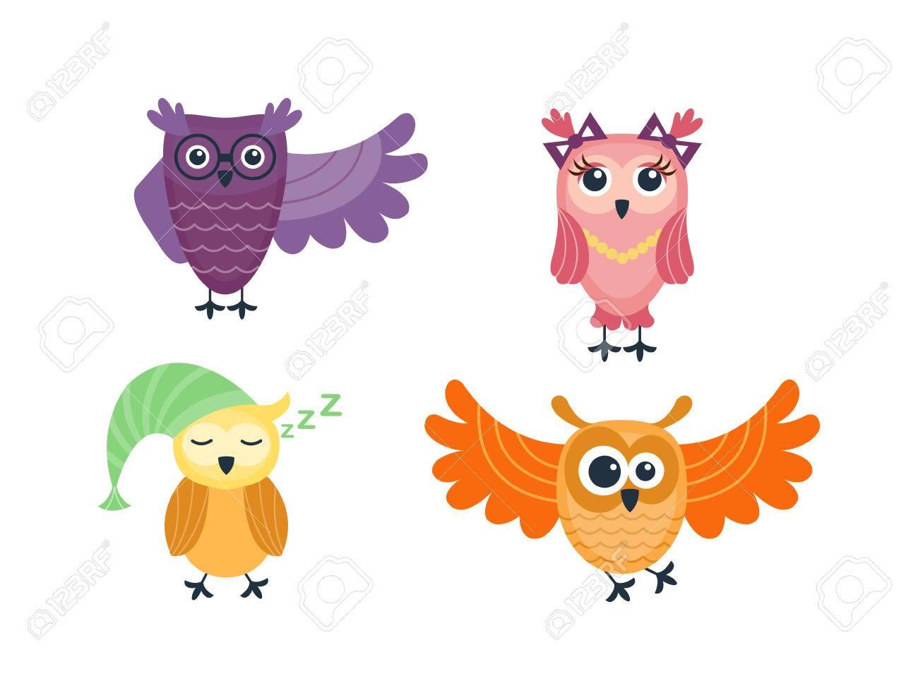 Vecteur Mignon Hiboux Drôles De Bande Dessinée Animal Dessin Animé Caractère Chouette Bande Dessinée Drôle Collection Doodle Gai Hibou De Bande