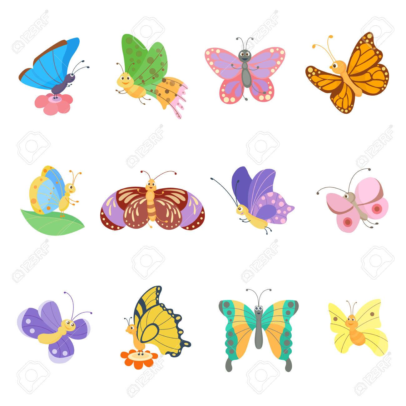 Colorful Butterflies Flat Style Vector Insects Vector Butterfly
