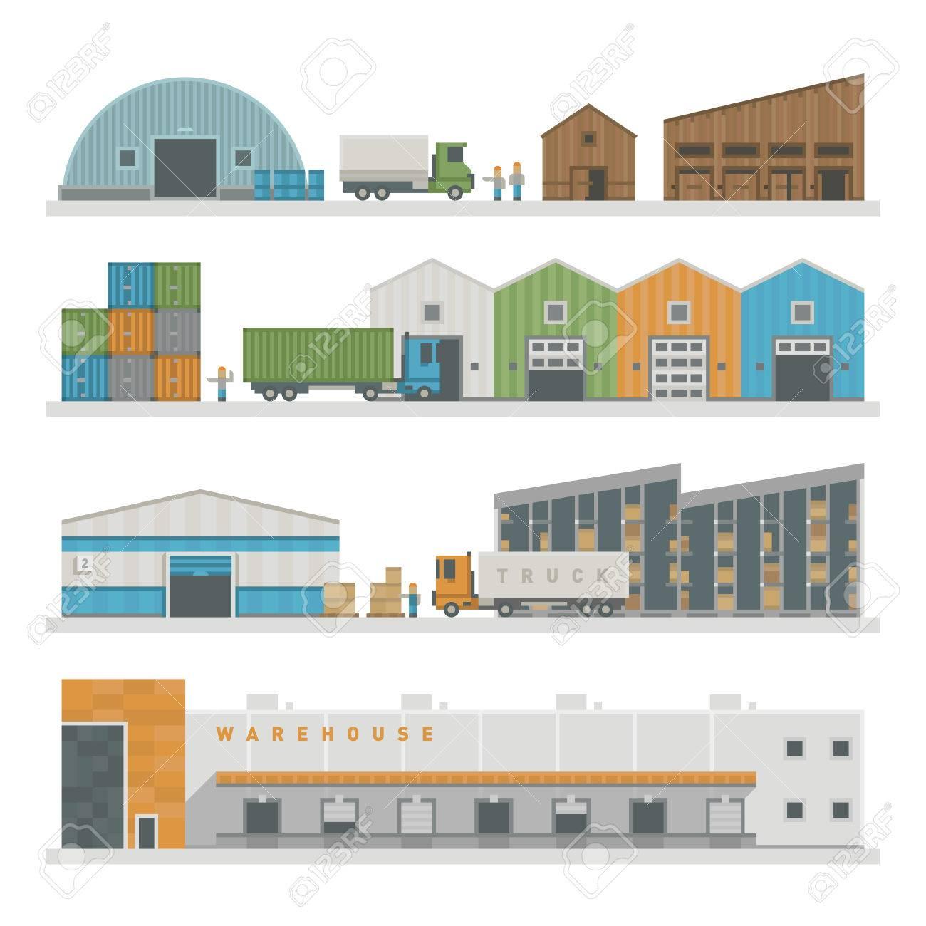 大規模な倉庫派遣業界、倉庫貨物輸送配送パッケージ建物の商品を準備します。倉庫建物産業フラット ベクトル