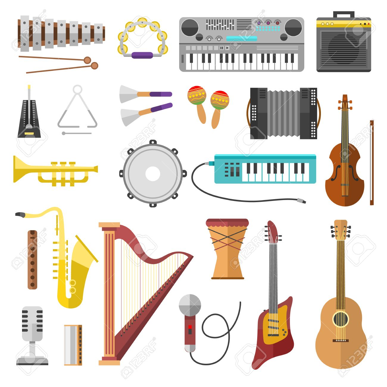Different music instruments vector and music instruments  Music