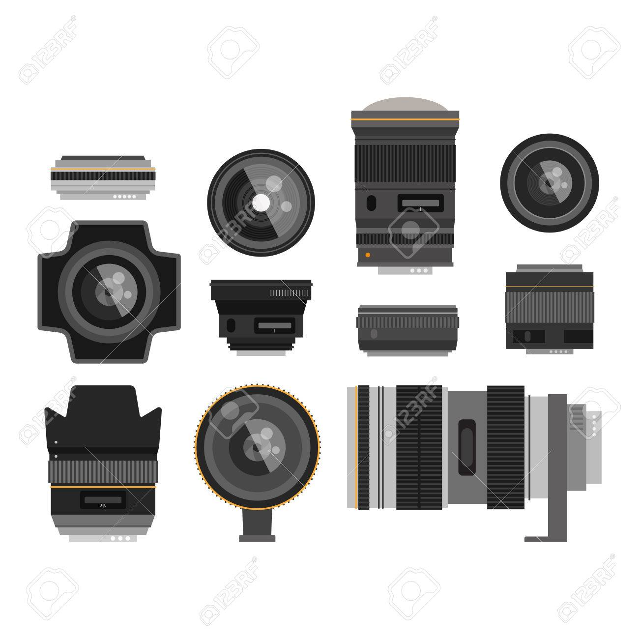 Camera photo optic lenses set on white background vector  Different