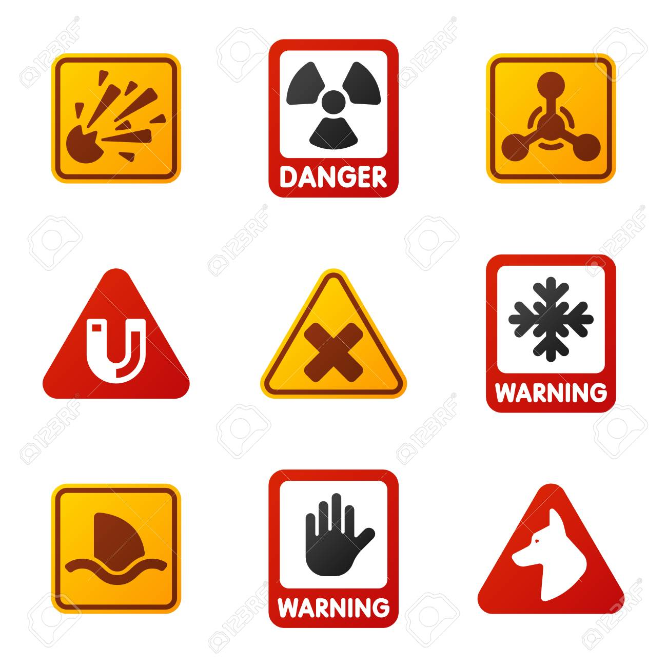 Attention Icons Danger Button And Attention Warning Signs Attention