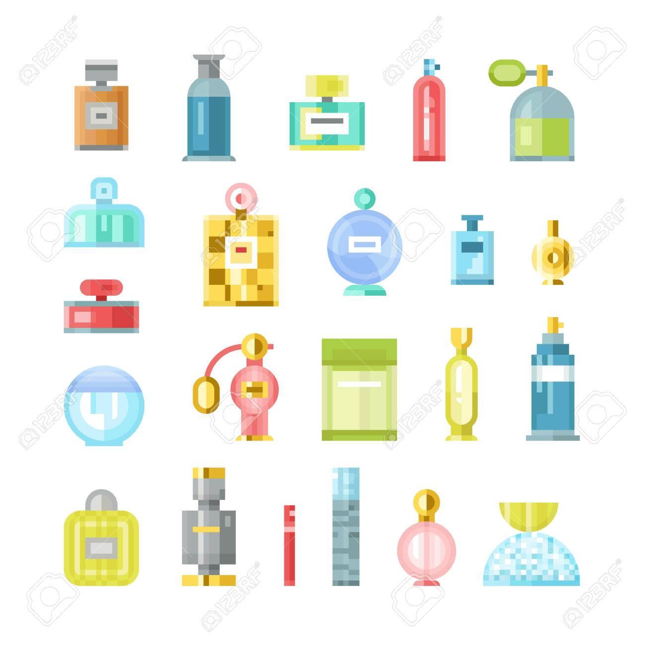 Ensemble De Vecteur De Parfum Contenant De La Mode Odeur Pulvérisation Pixel Art Vector Illustration Des Parfums Symboles élégant Cadeaux De