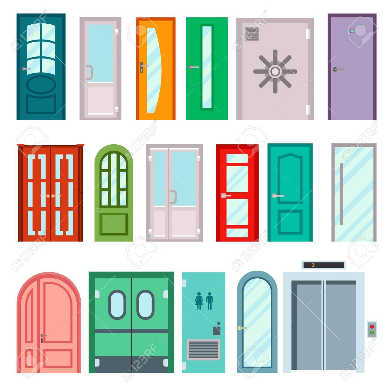 Satz Von Farbe Türen Isoliert Auf Weiß. Bunte Vorderen Türen Zu Den ...