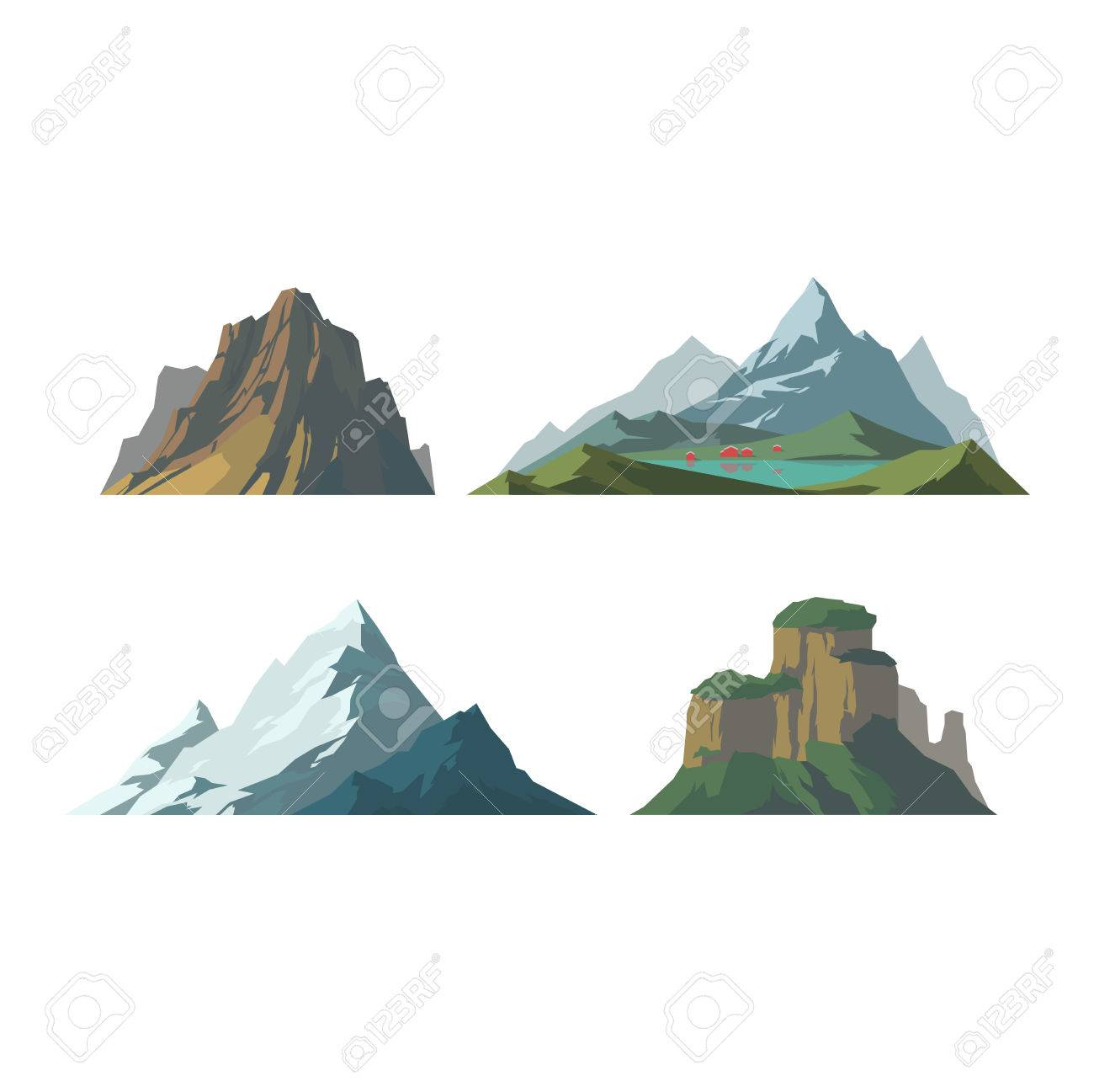 outdoor nature mountains. Mountain Vector Illustration. Nature Silhouette Elements. Outdoor Icon Snow Ice Tops, Mountains G