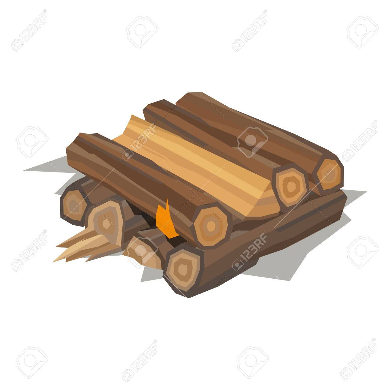 Firewood Fireplace For Bonfire Stack Vector Wooden Material