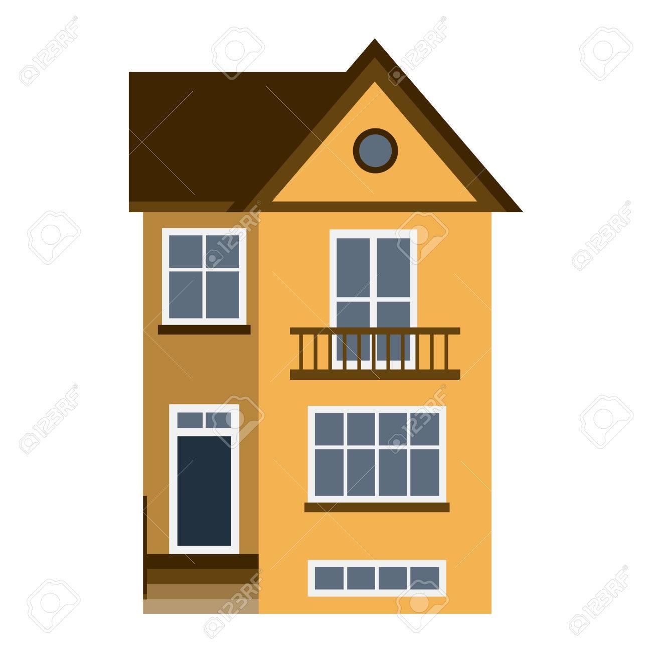 Haus Frontansicht Vektor-Illustration. Häuser Flach Stil Moderne ...