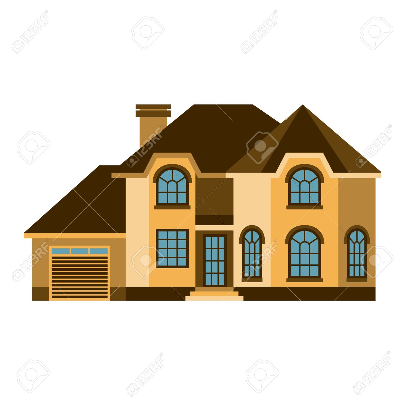House Front View Vector Illustration Houses Flat Style Modern