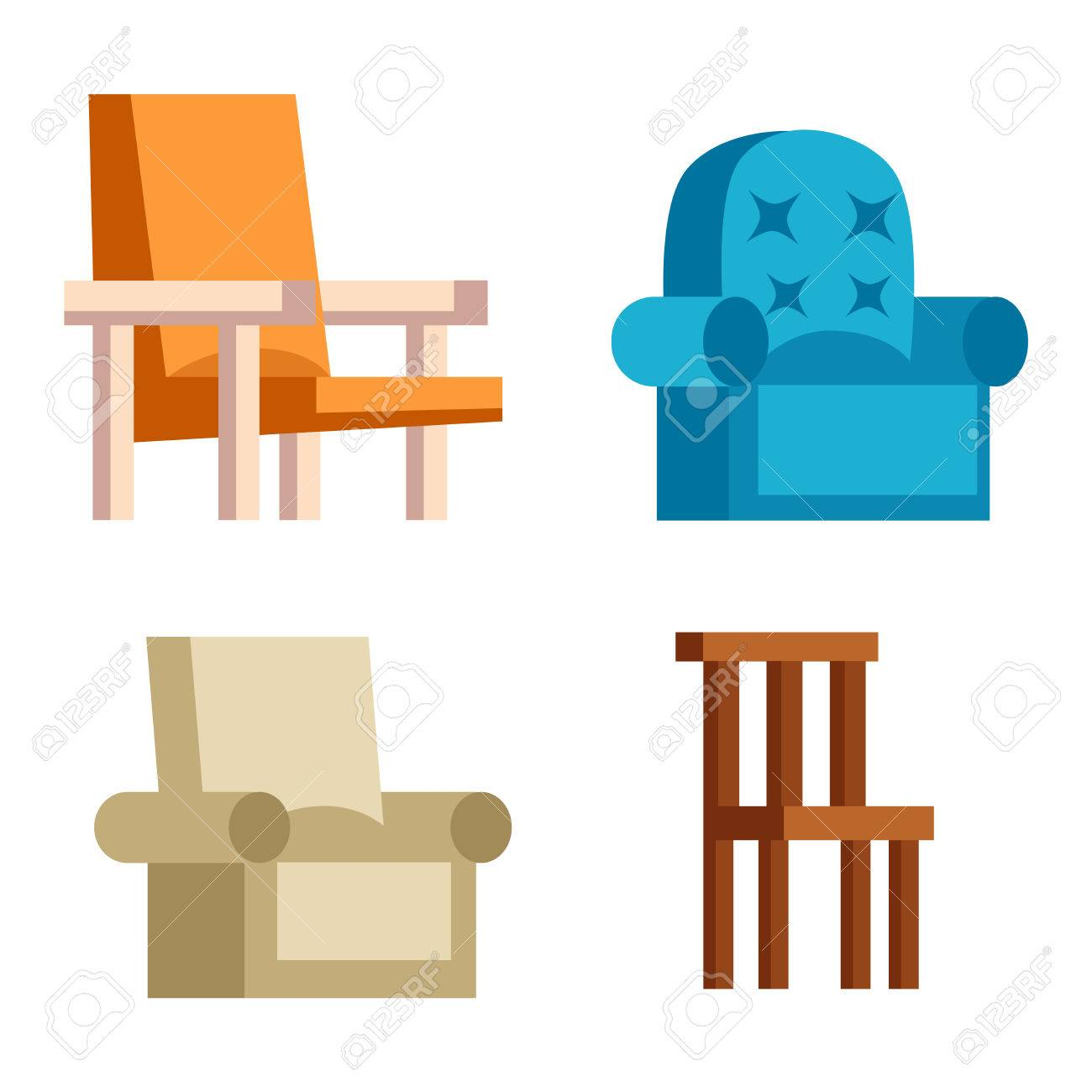 Etonnant Furniture And Home Decor Icon Set Vector Illustration. Indoor Cabinet  Interior Room Library, Office