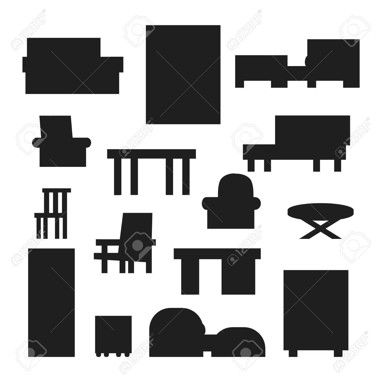 Meubles Et Décor à La Maison Jeu D\'icônes Vector Illustration ...