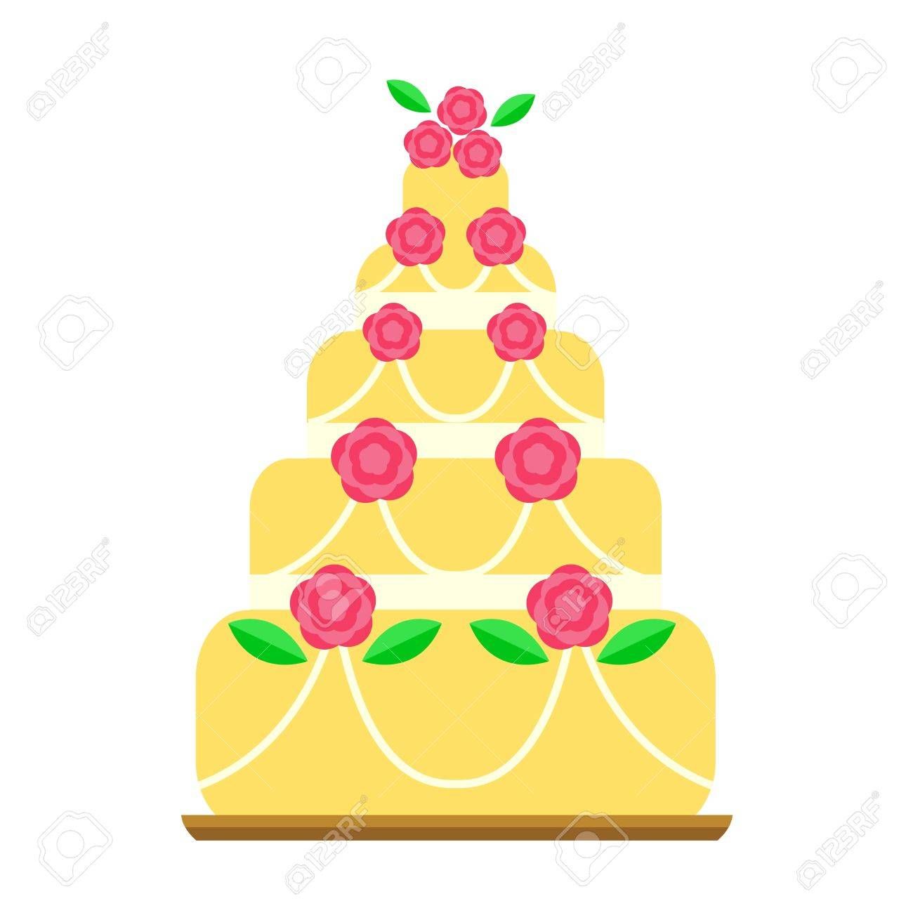 Pie For Birthday Isolated Cake Vector. Wedding Or Birthday Cake ...