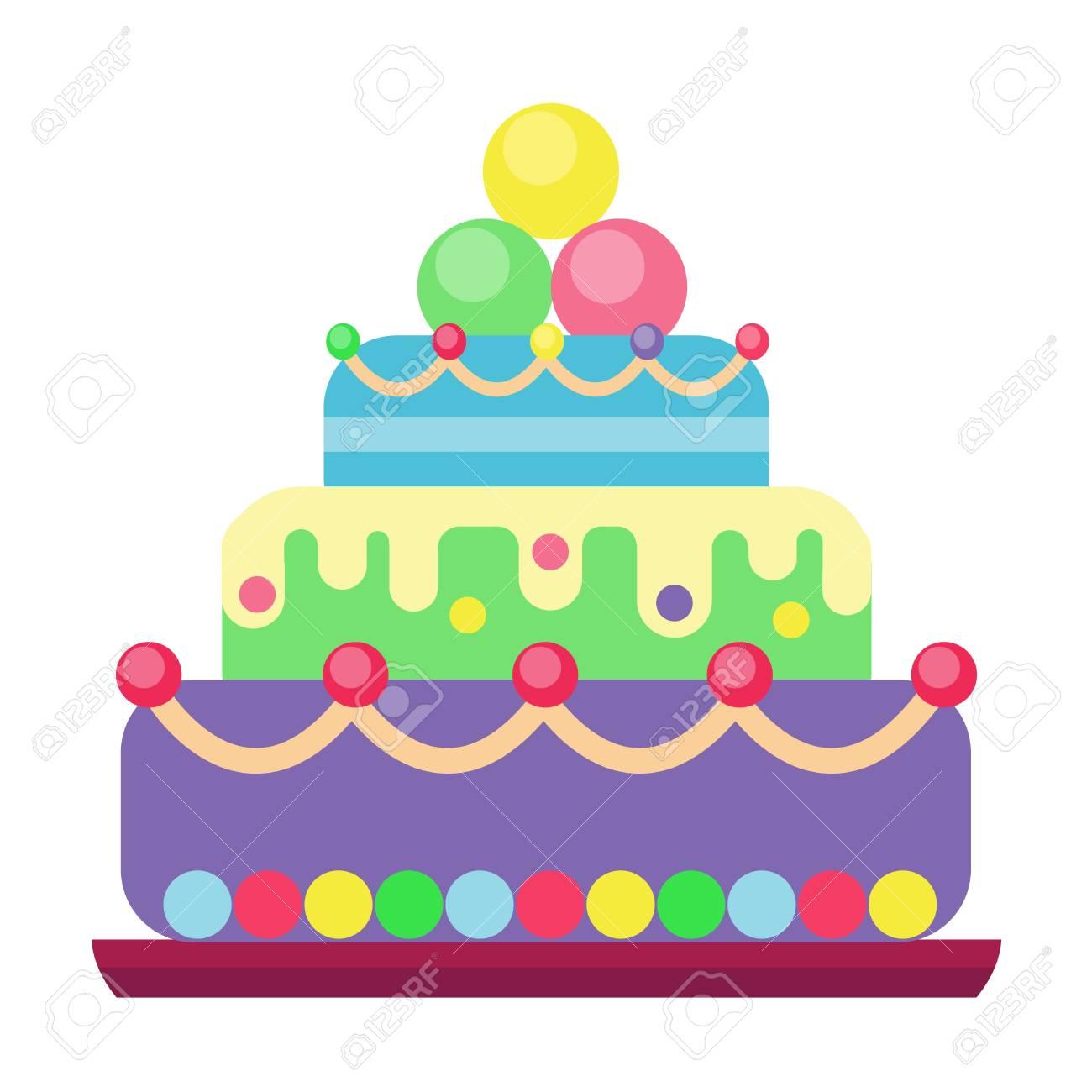 Torte Fur Geburtstag Isoliert Kuchen Vektor Hochzeit Oder