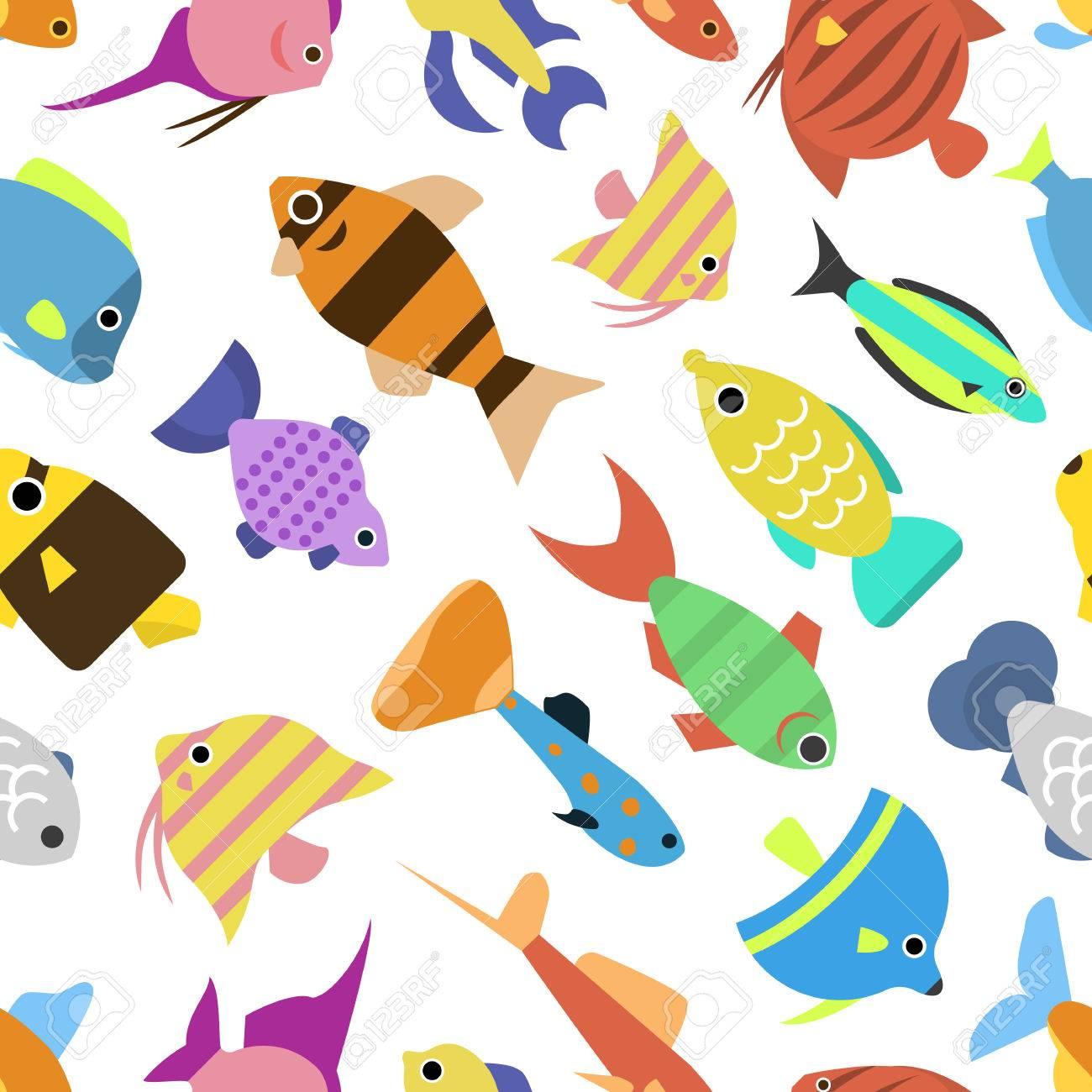 かわいい魚のイラスト アイコン シームレス パターンをベクトルします