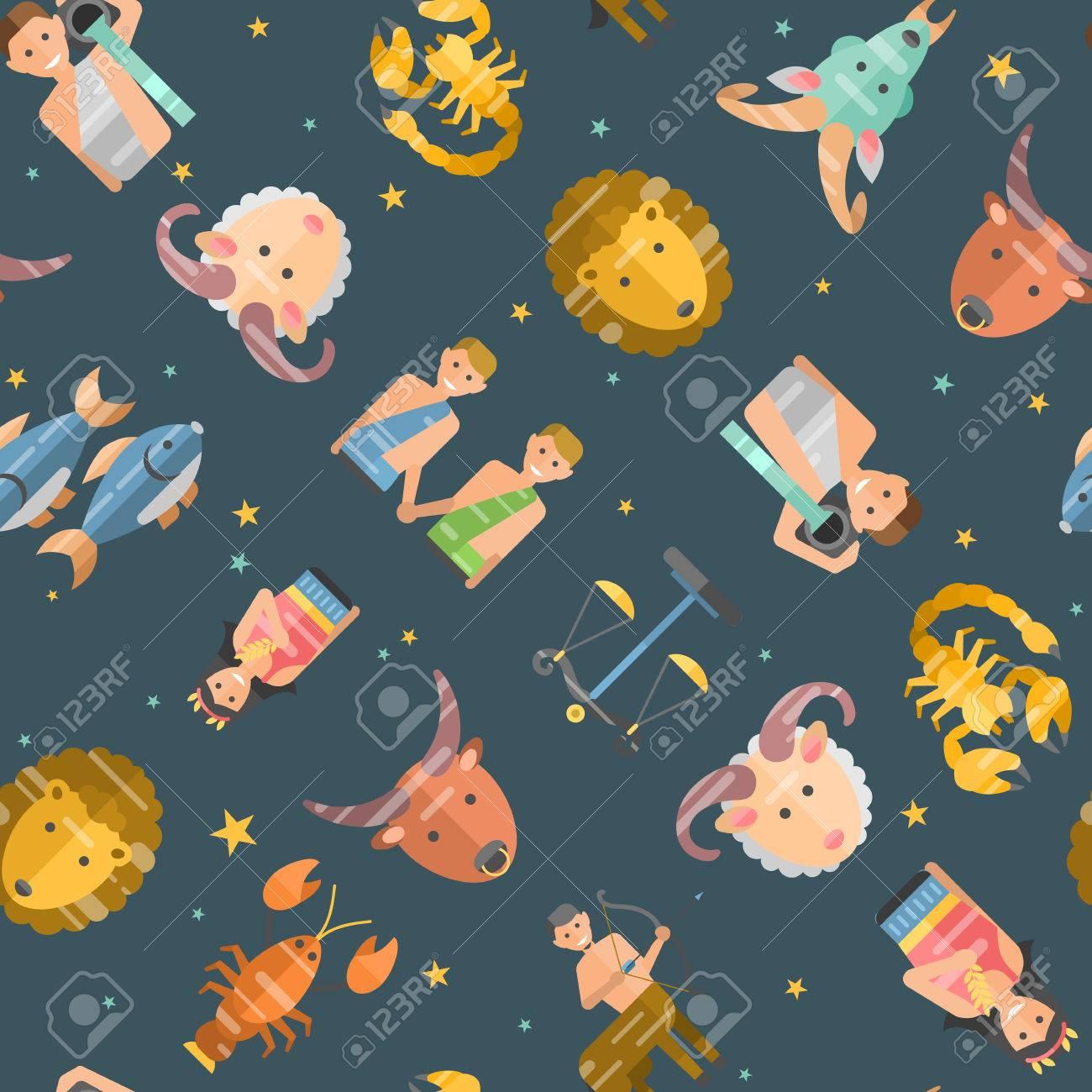 Zodiac Signs Flat Seamless Pattern Of Horoscope Symbols Star