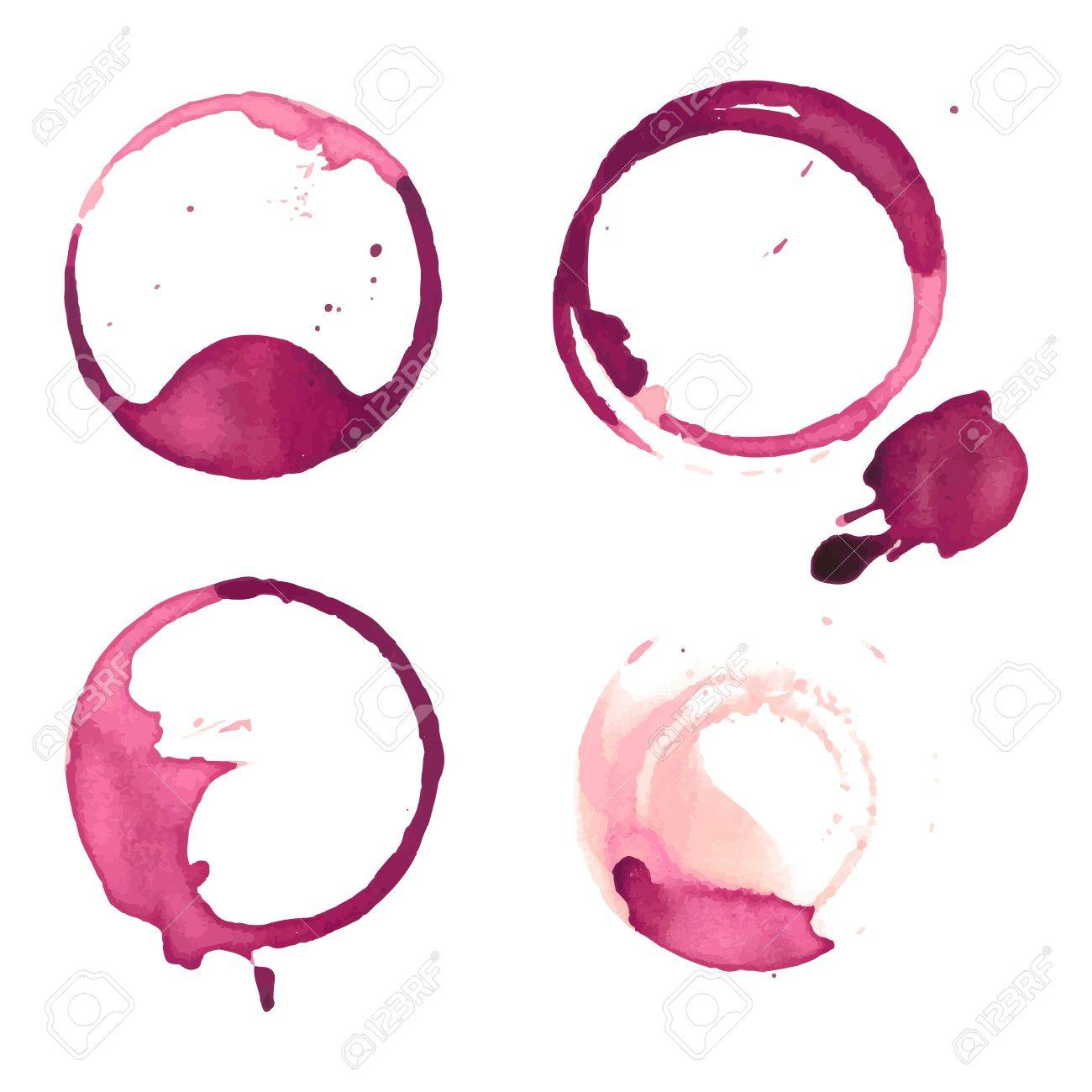 Wine staiin spots splashes cup vector isolated on white background. Wine spots splash vector. - 66595700