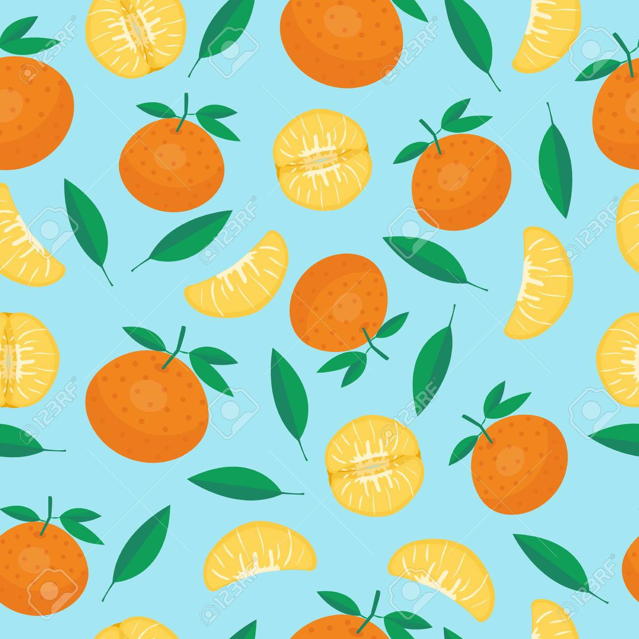 Cartoon fresh fruits in flat style. mandarin seamless pattern. Fruits seamless patterns food summer