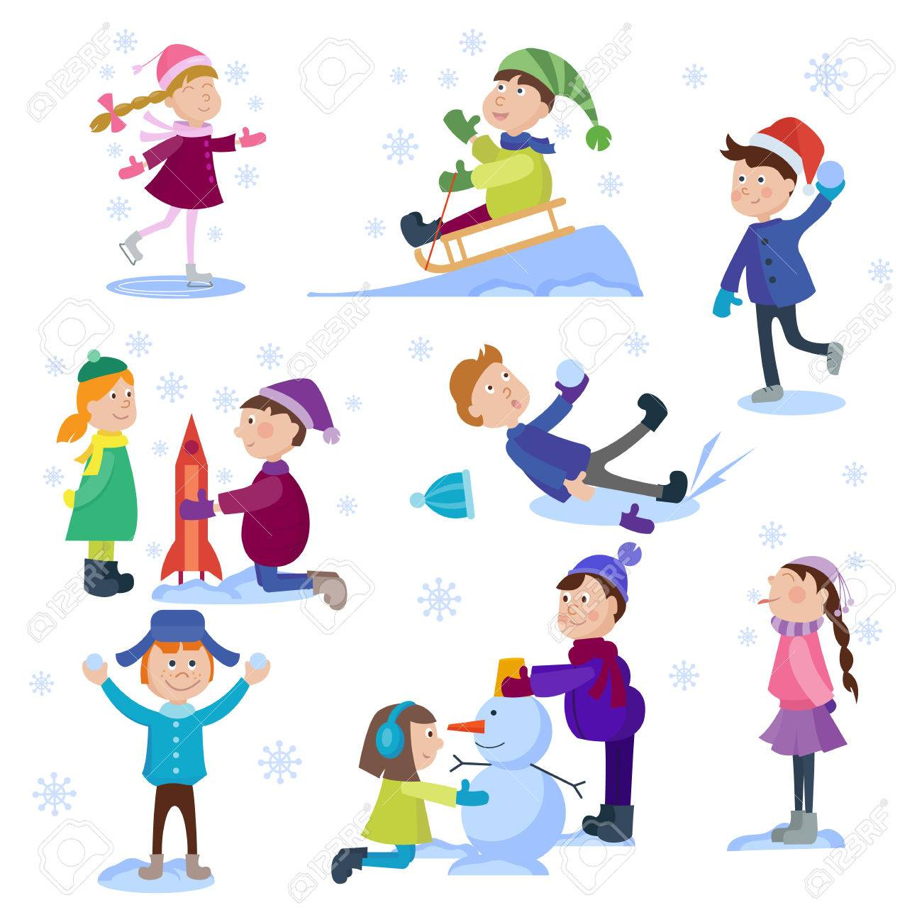 Navidad Ninos Que Juegan Juegos De Invierno Patinaje Esqui Trineo