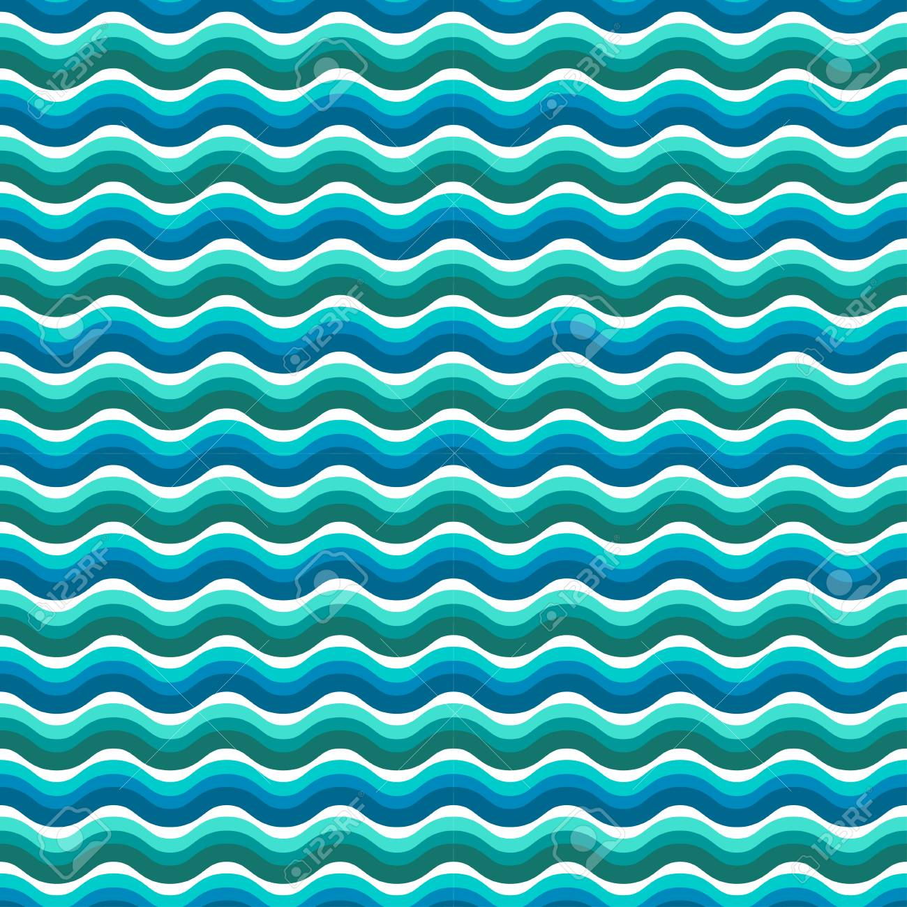 Seamless Vector Patterns With Nautical Elements Wave Collection