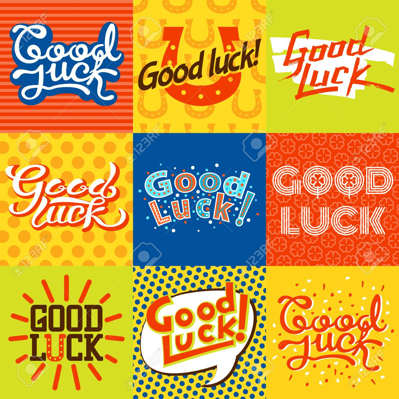 Good luck text farewell card. Vector lettering with lucky phrase background greeting typography. Vintage word decorative symbol inscription expression banner. - 69347172