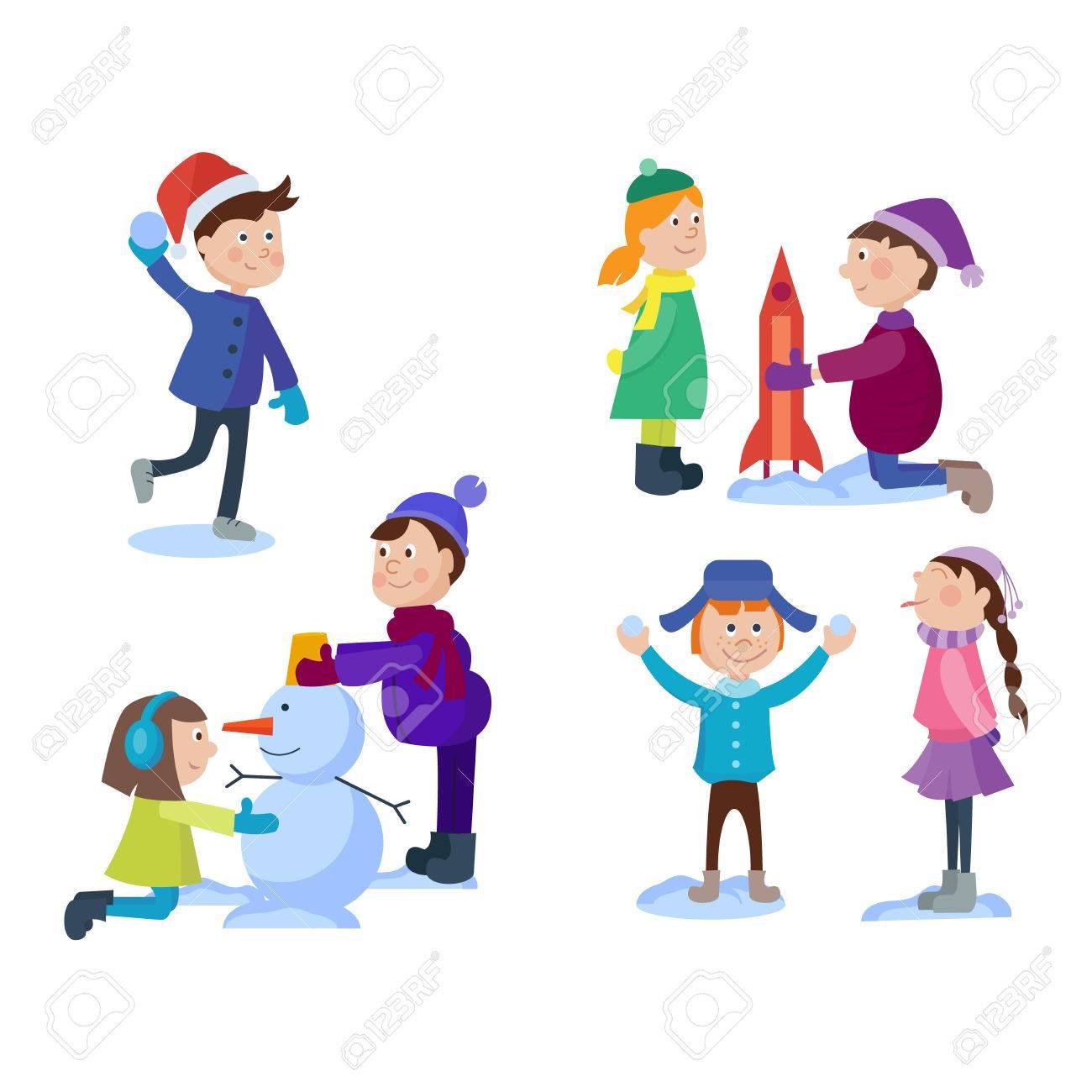 Weihnachten Kinder Spielen Winterspiele. Skating, Skifahren, Rodeln ...