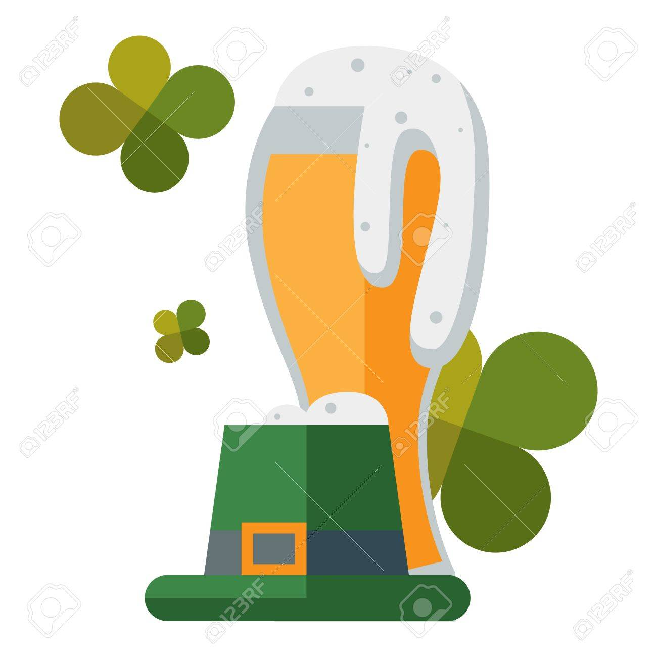 Saint Patricks Day Traditional Beer Alcohol And Funny Green Hat