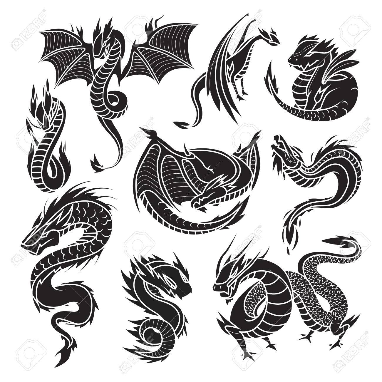 Chinese Black Dragon Silhouettes On White Background Tattoo