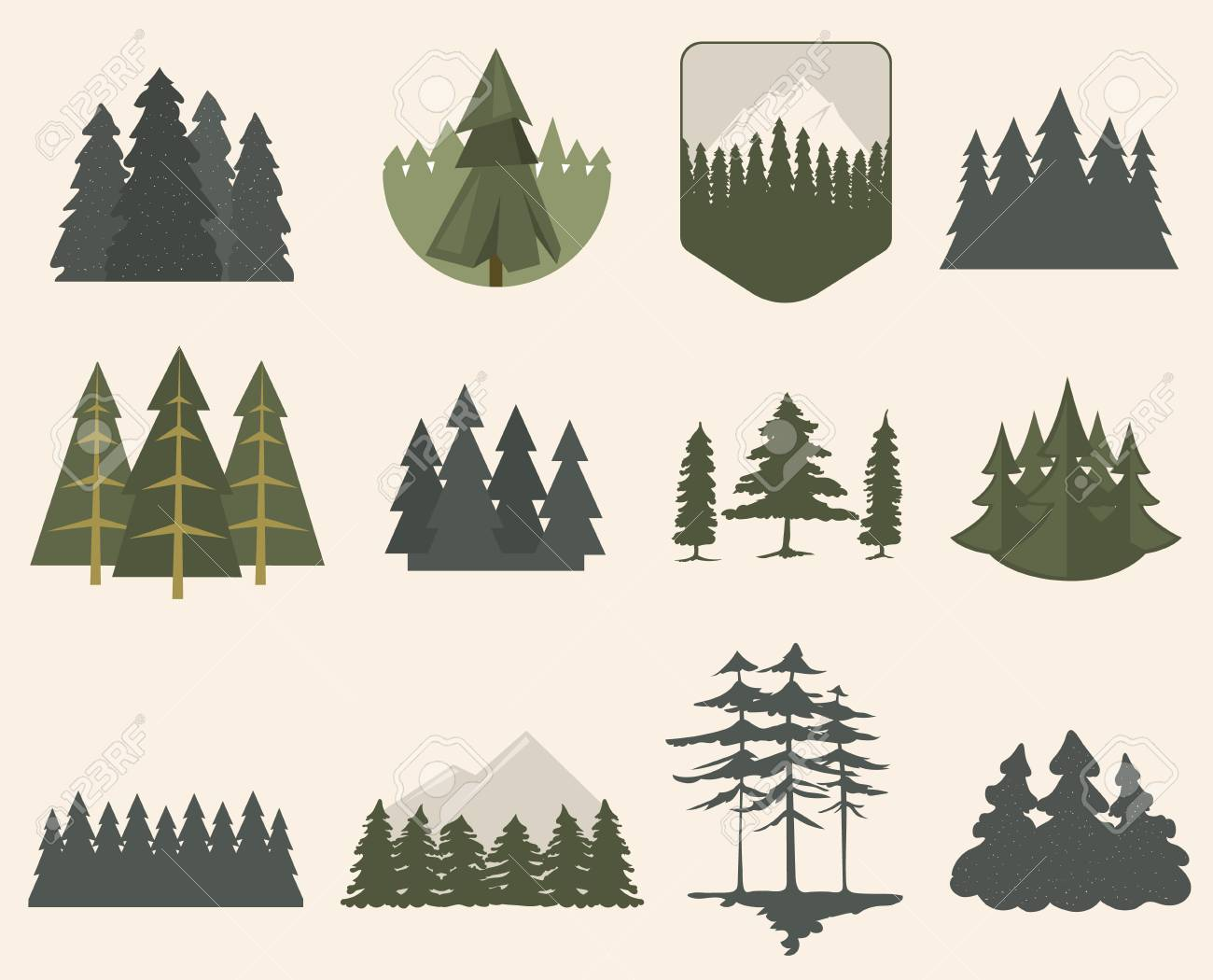 Illustration with fir trees set isolated. Pine plant wood branch natural landscape element. Trunk environment deciduous abstract vector. Big forest growth seasonal object. - 66843032