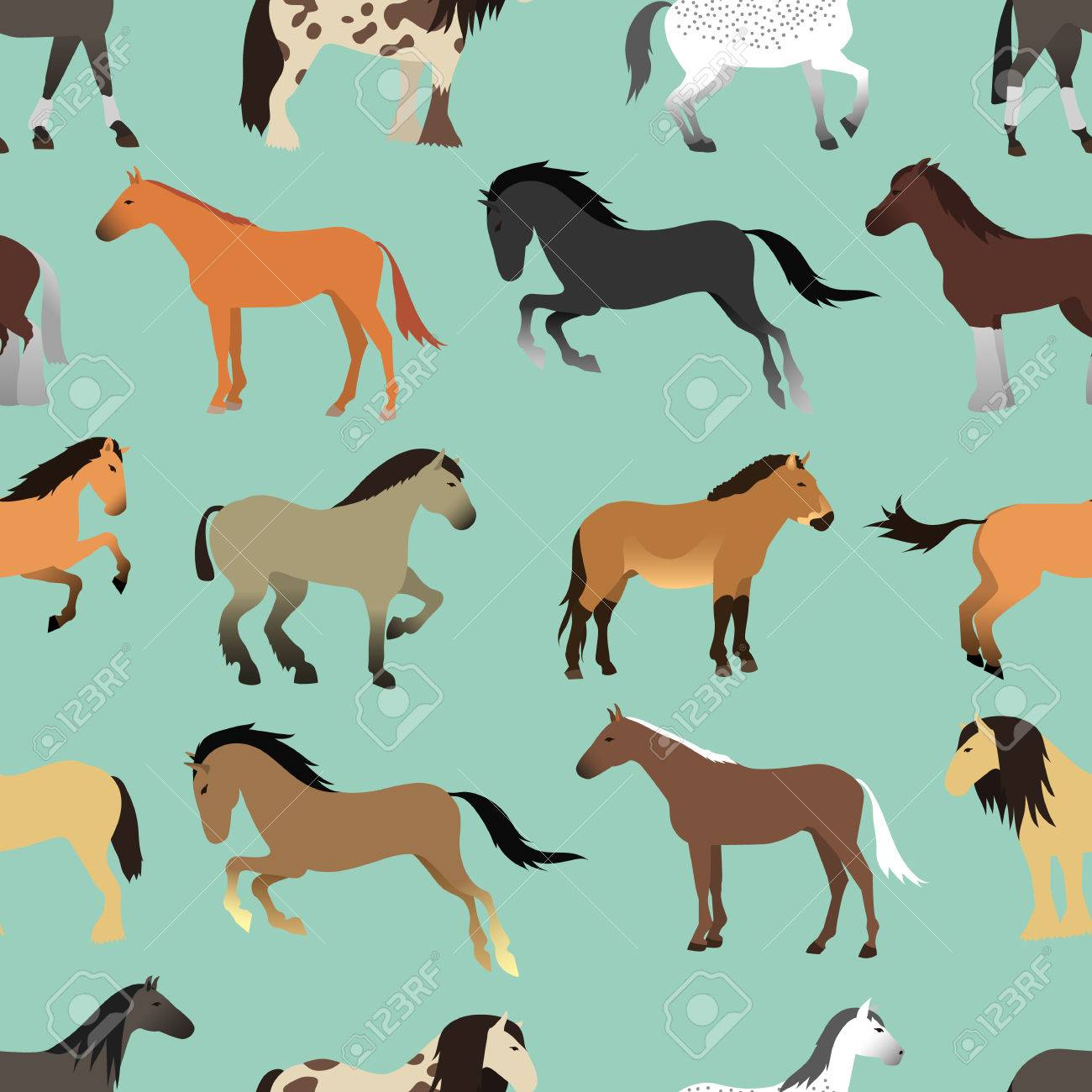 Seamless Pattern With Horse In Flat Style Animal Vector Design Royalty Free Cliparts Vectors And Stock Illustration Image 66843035