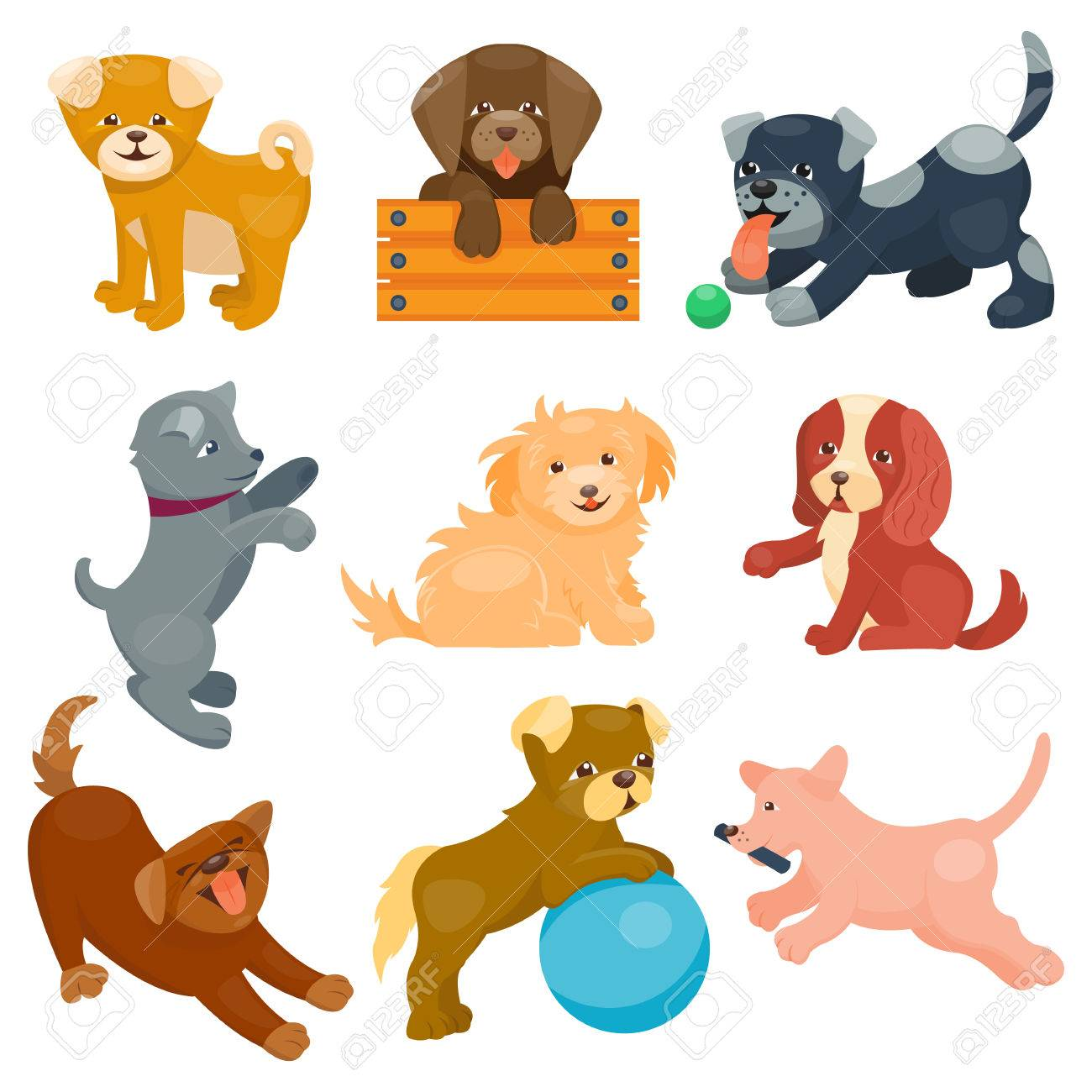 Vector Illustration Cute Dogs Characters Set Of Funny Purebred Royalty Free Cliparts Vectors And Stock Illustration Image 67624928