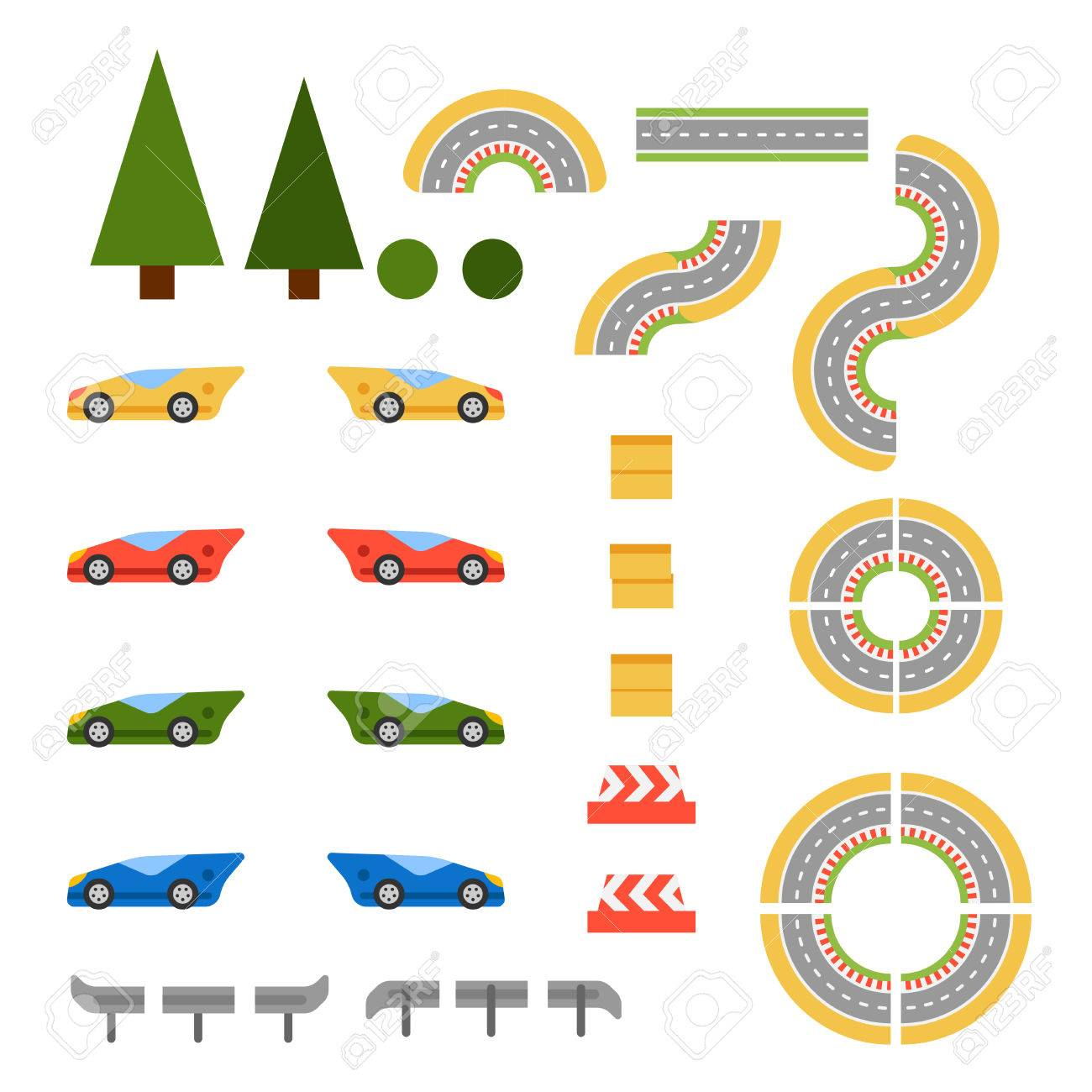 Race Track Curve Road Vector Top View Of Car Sport Competition Symbols In Circuit Constructor