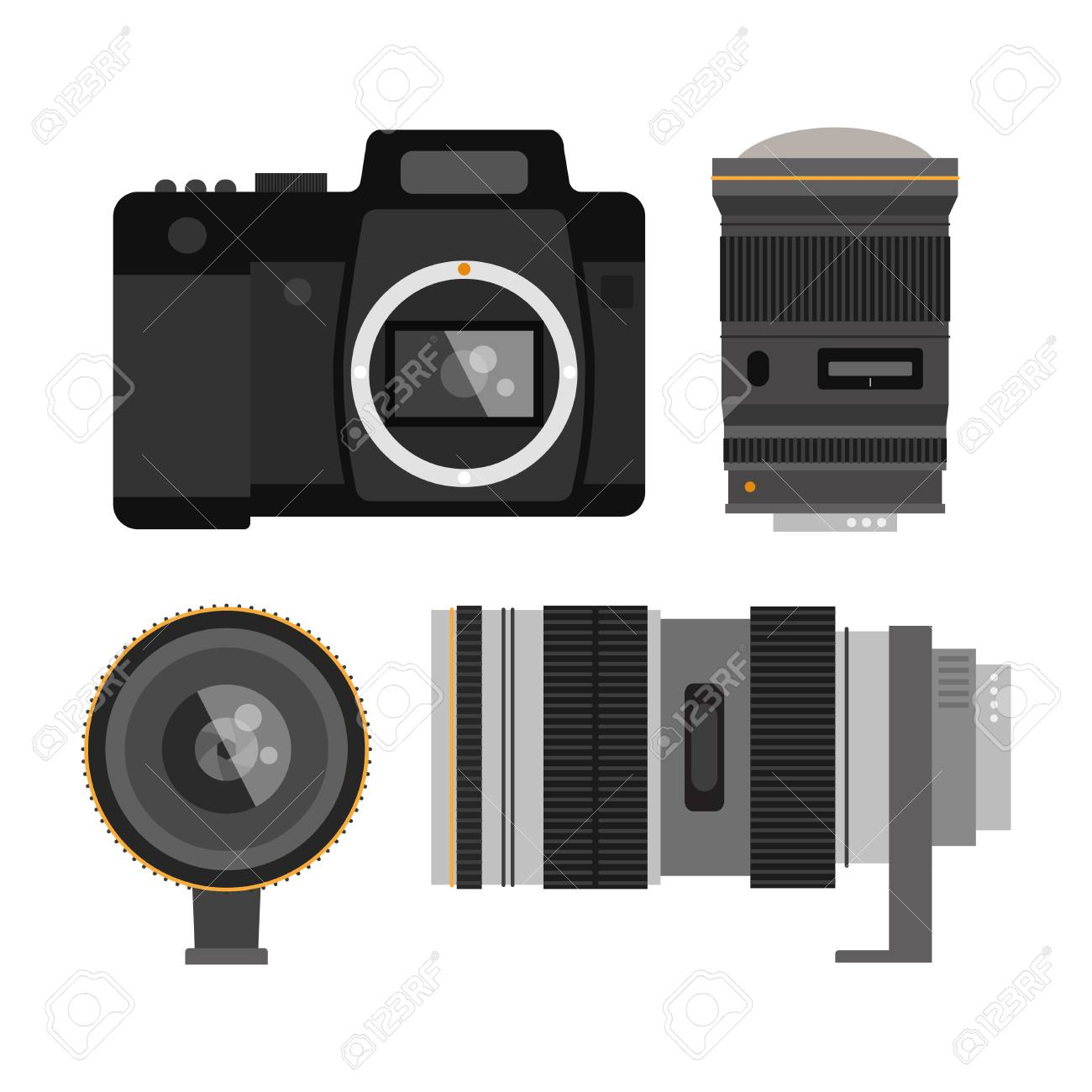 Camera Photo Optic Lenses Set On White Background Different Types Of Digital Cameras Objective Equipment Professional Look