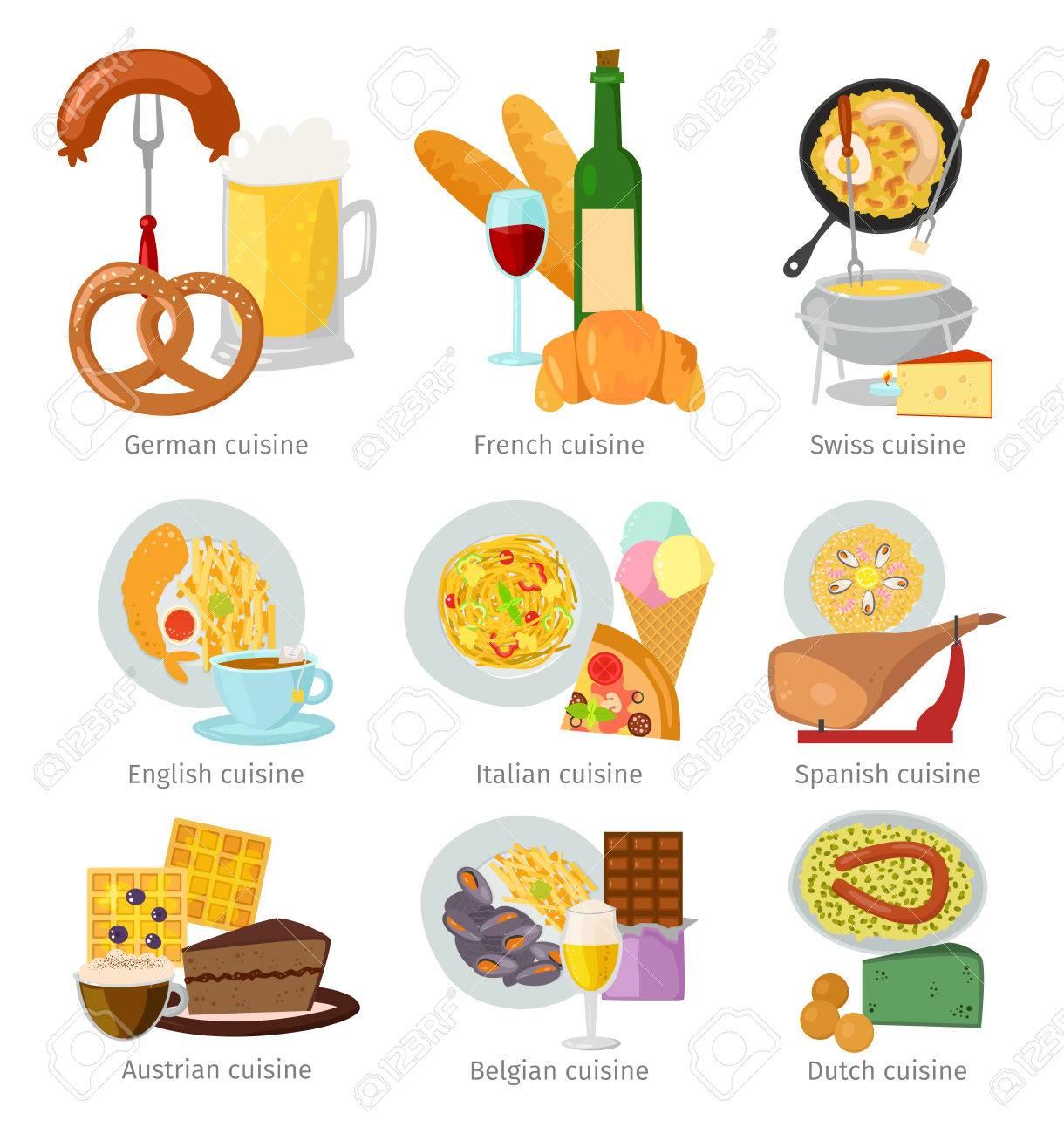 ヨーロッパ料理食品ランチおいしいおいしい料理ベクトル イラスト。