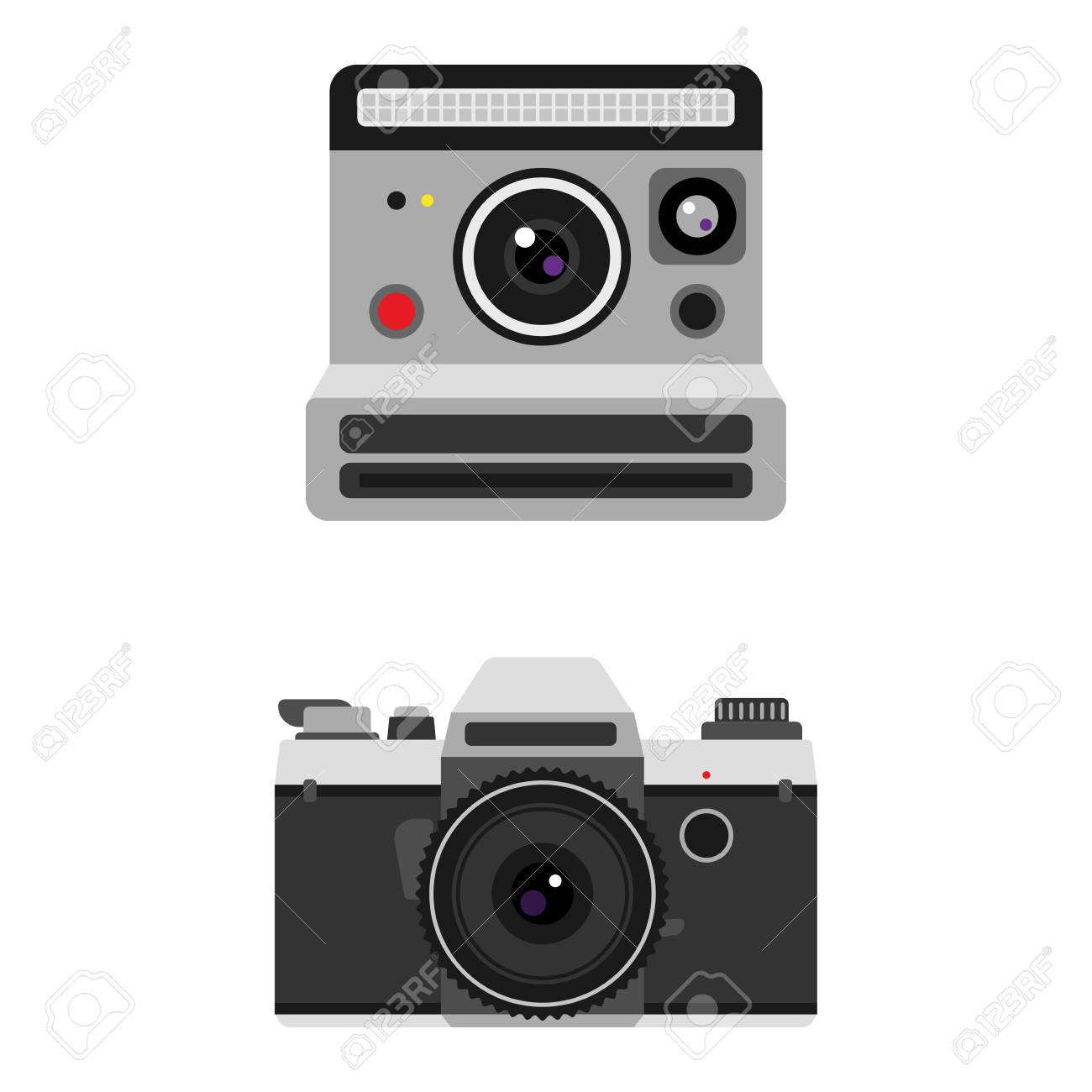 Camera Photo Optic Lenses Set On White Background Different Types Of Digital Cameras Objective Retro Equipment Professional