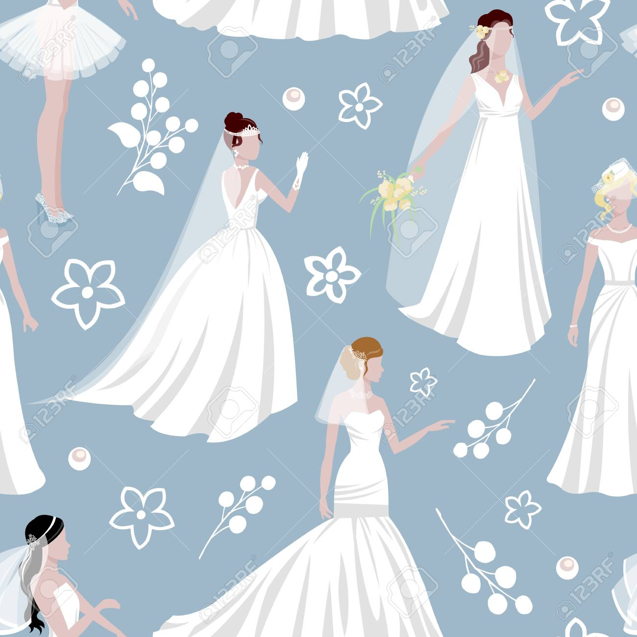 Wedding Bride Girl Character Seamless Pattern Background Royalty ...