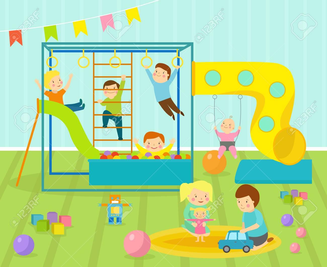 Décor Salle De Jeux les enfants salle de jeux avec un mobilier léger décor aire de jeux et  jouets sur le tapis de sol décoration style cartoon plat intérieur  confortable