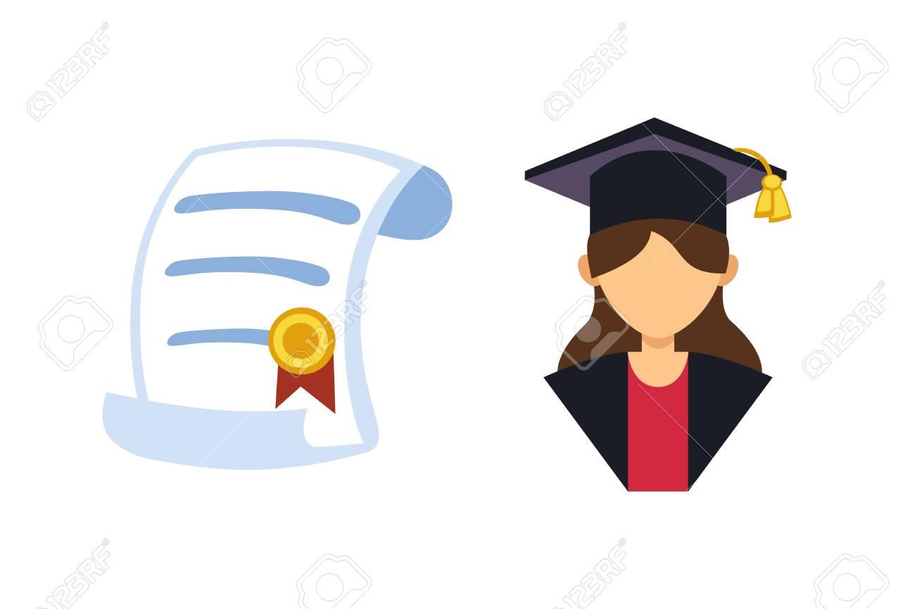c4ff5f491 Foto de archivo - Graduación mujer silueta uniforme avatar vector  ilustración. Carácter de éxito de la universidad de educación de estudiante  con logro ...