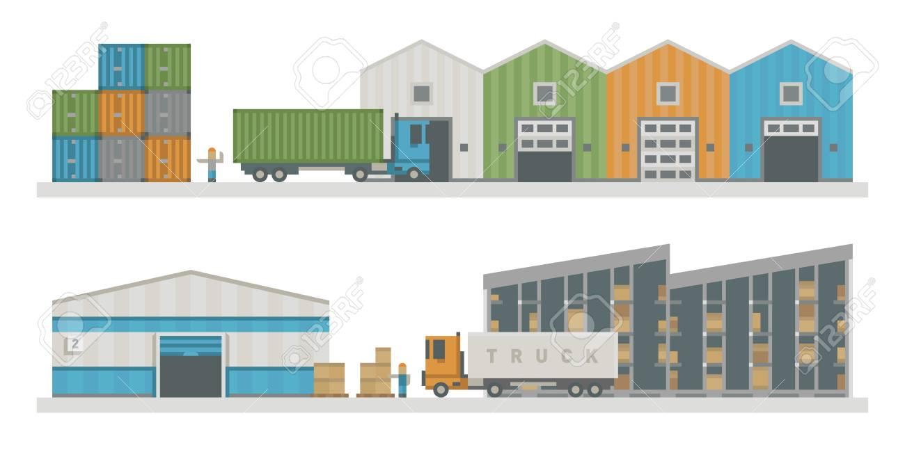倉庫物流建物ベクトル イラストのイラスト素材ベクタ Image 73059157
